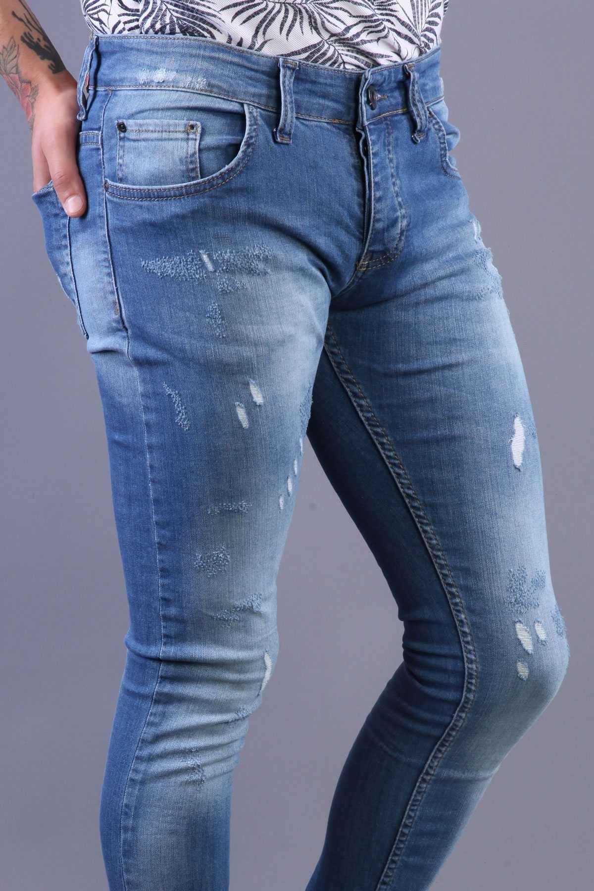 Lazer Tırtıklı Önü Arkası Taşlamalı Slim Fit Kot Pantolon Mavi