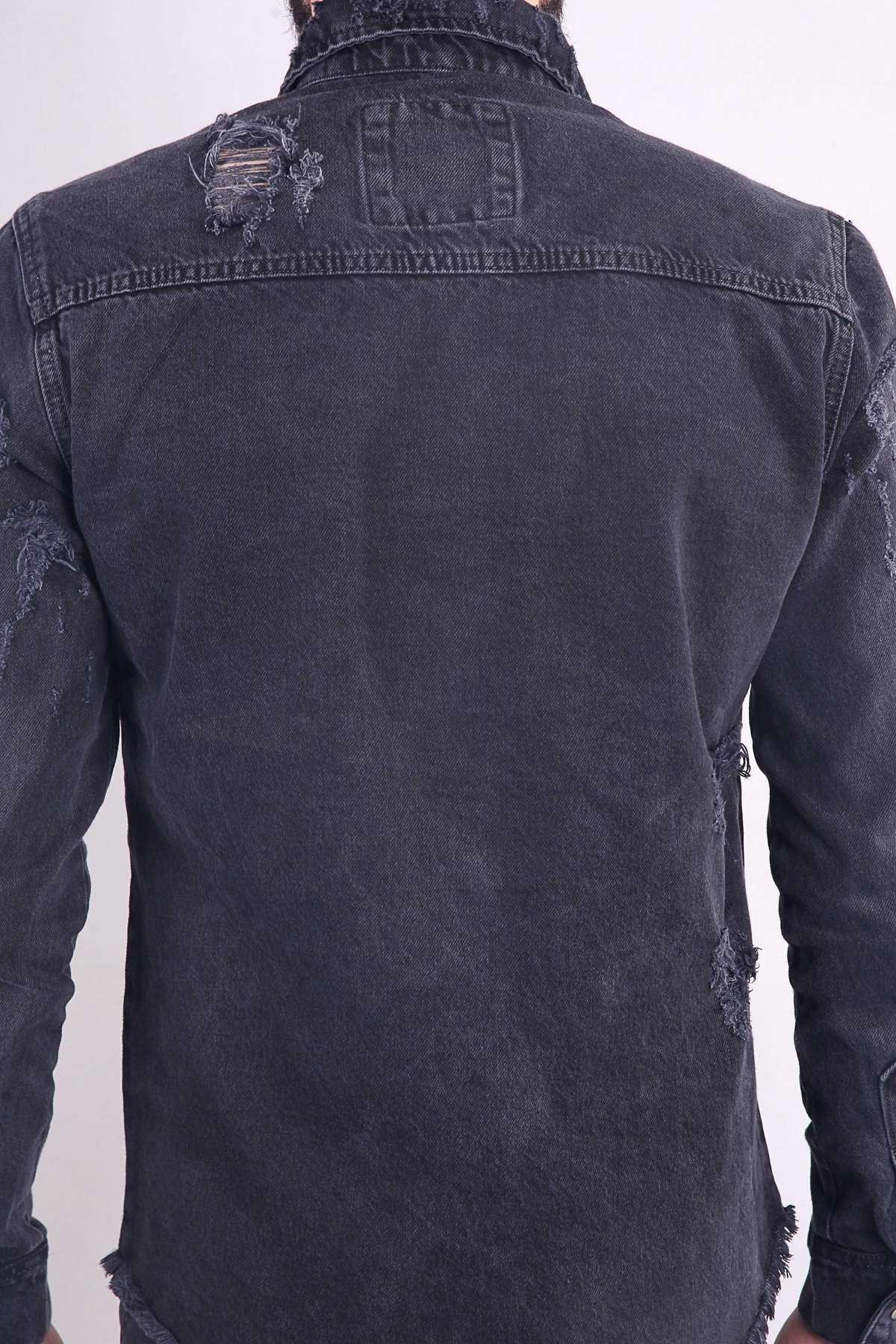Lazer Yırtıklı Alt Püsküllü Çıt Çıt Düğmeli Kot Gömlek Füme