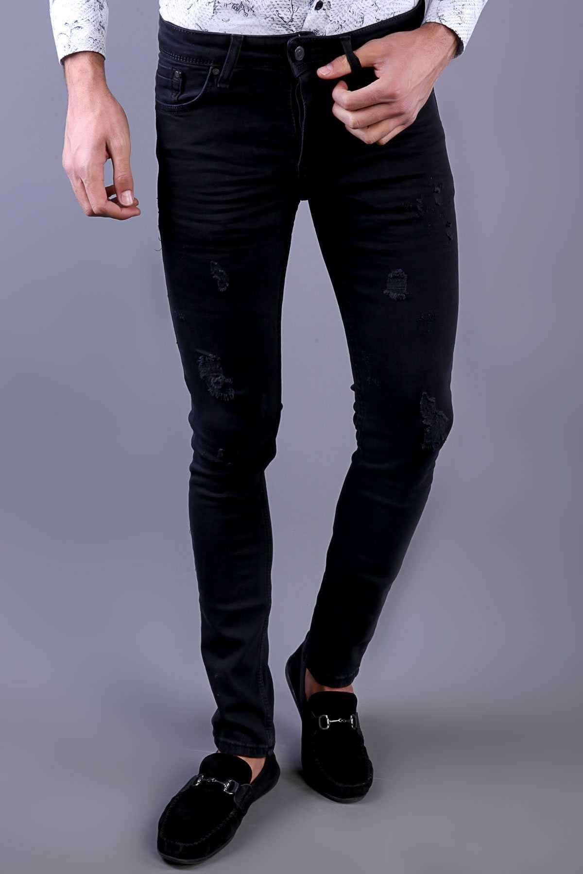Lazer Yırtık  Slim  Fit Kot Pantolon Siyah