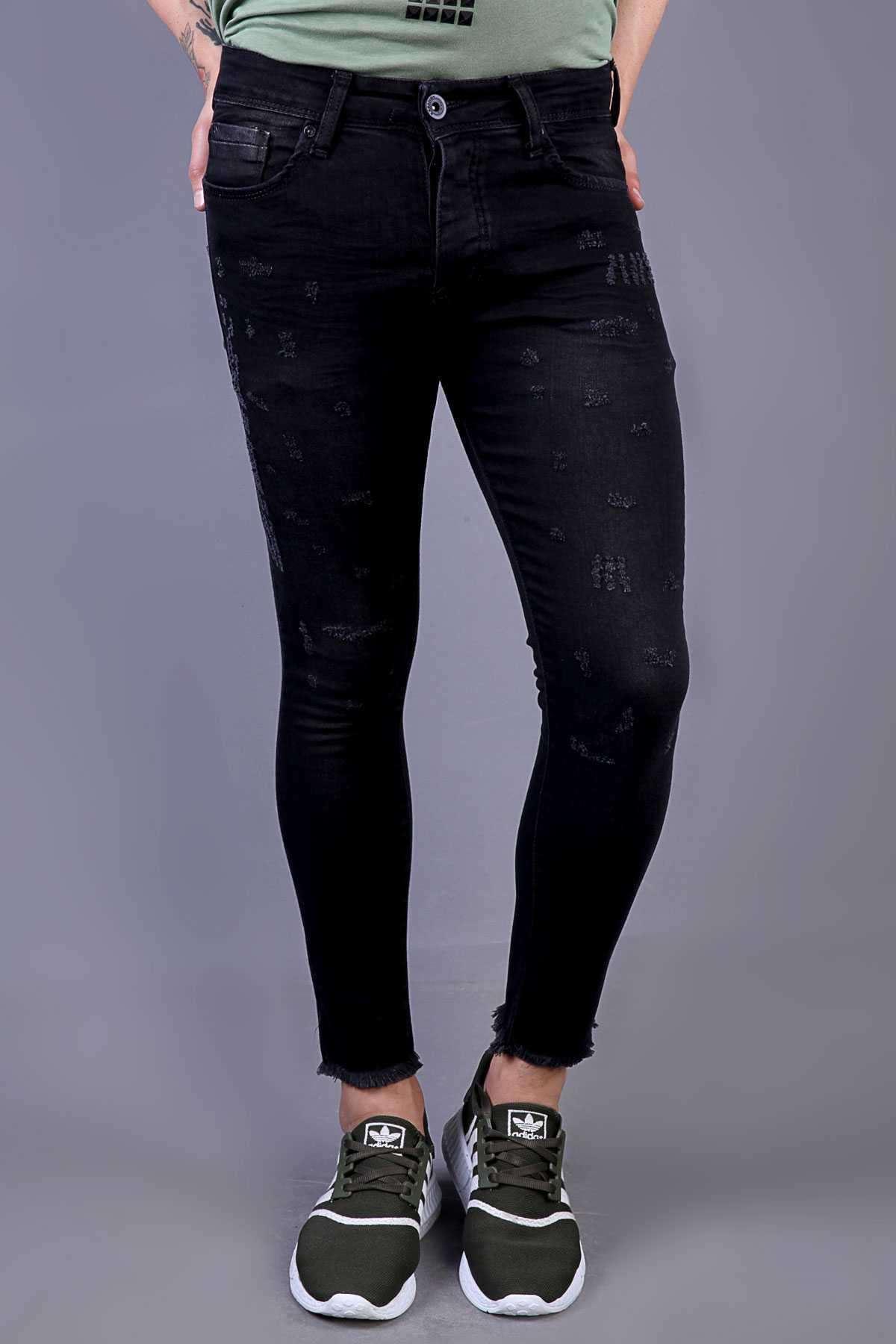 Lazer Tırtıklı Paça Püsküllü Bilek Boy Kot Pantolon Siyah