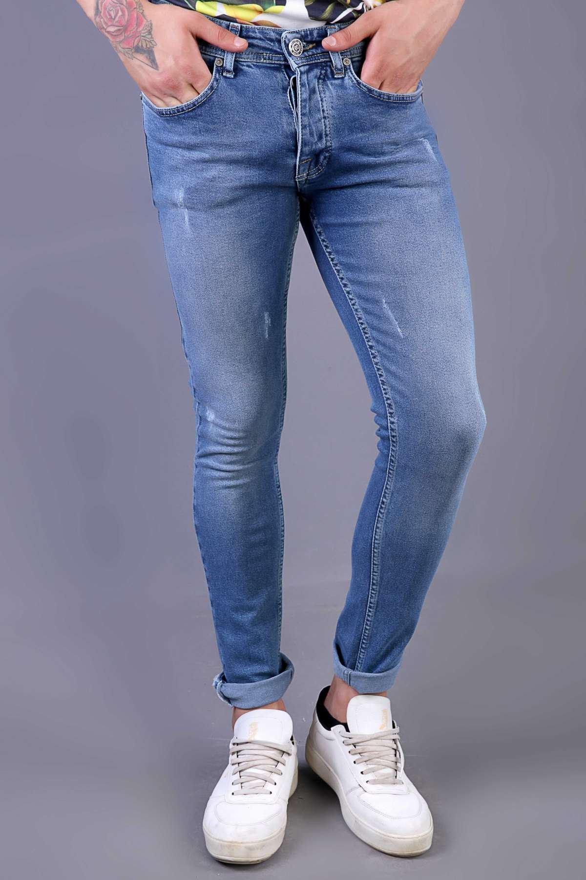 Lazer Tırtıklı Taşlamalı Yıkamalı Slim Fit Kot Pantolon Mavi