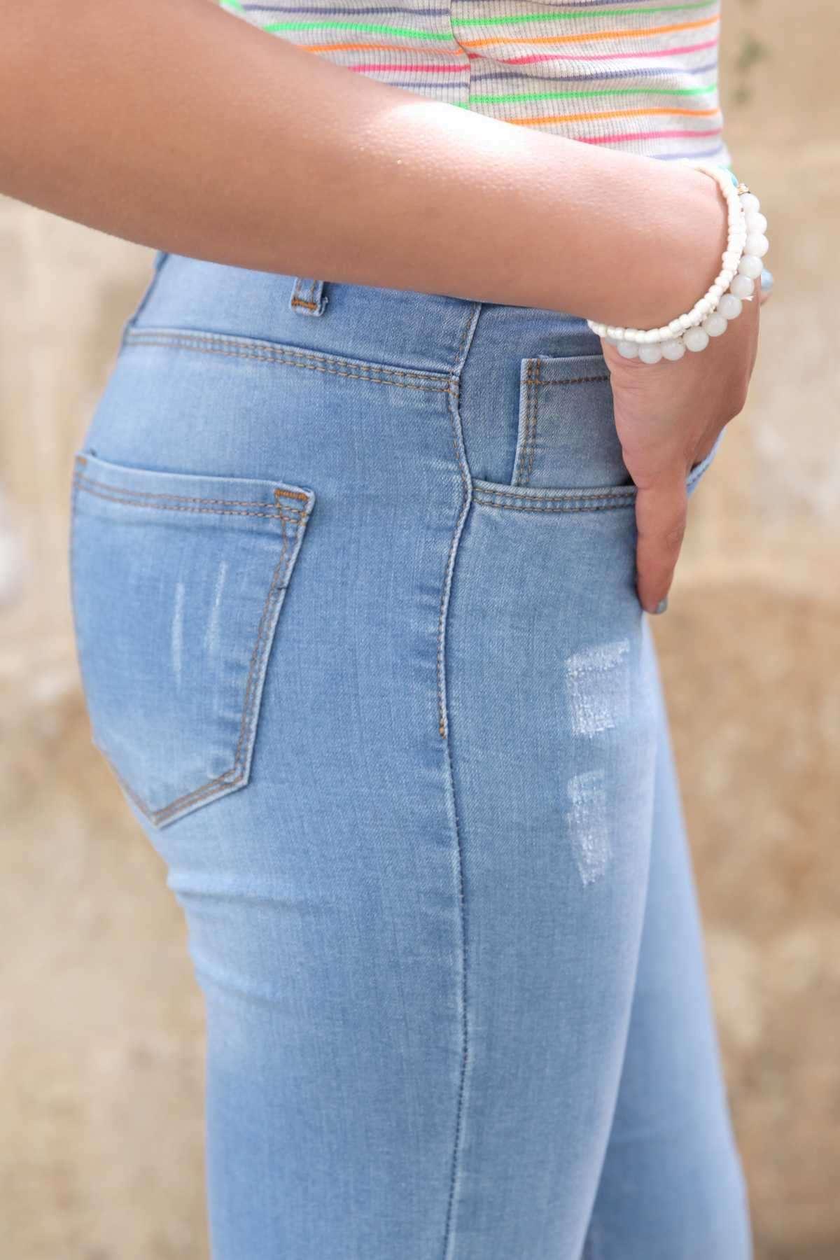 Lazer Tırtıklı Diz Taşlamalı Slim Fit Kot Pantolon Açık-Mavi
