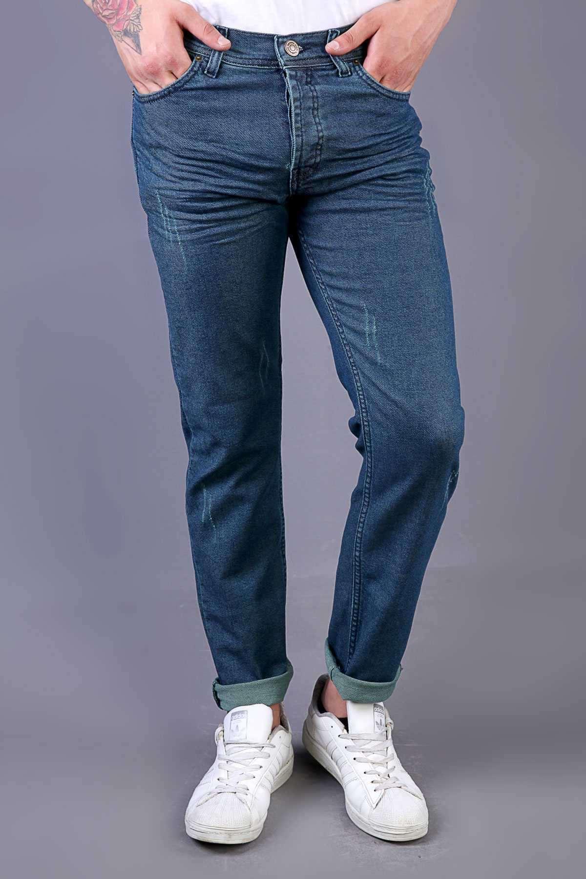 Lazer Tırtıklı Klinkırlı Slim Fit Kot Pantolon Laci-Yeşil