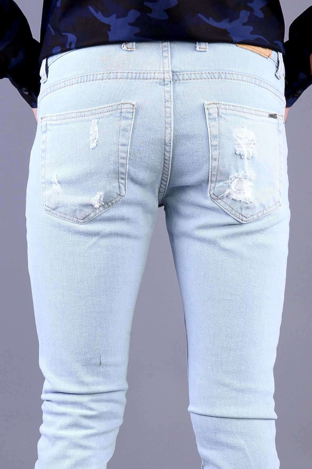 Lazer Yırtıklı Paça Tırtıklı Slim Fit Kot Pantolon Buz.Mavi