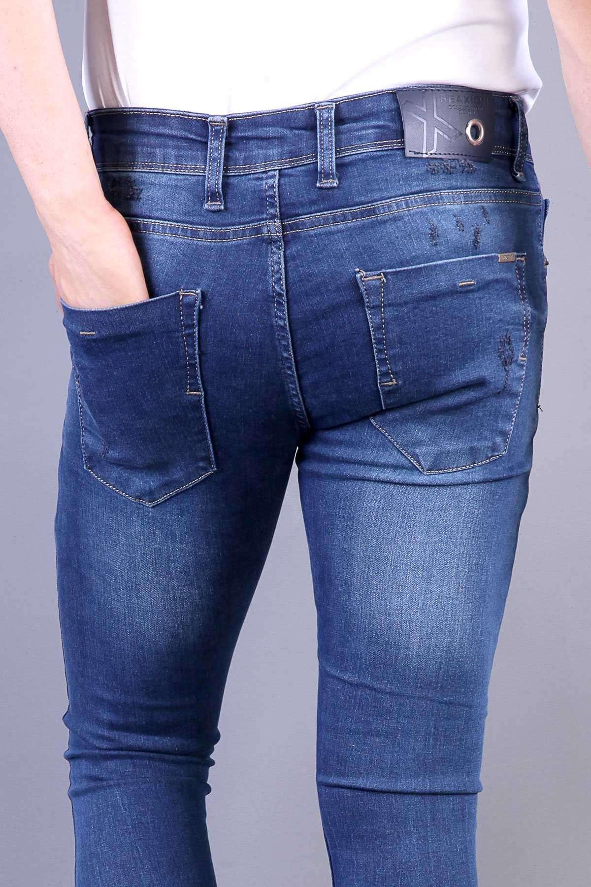 Lazer Tırtıklı Cep Altı Taşlamalı Bilek Boy Slim Fit Kot Pantolon Koyu-Mavi