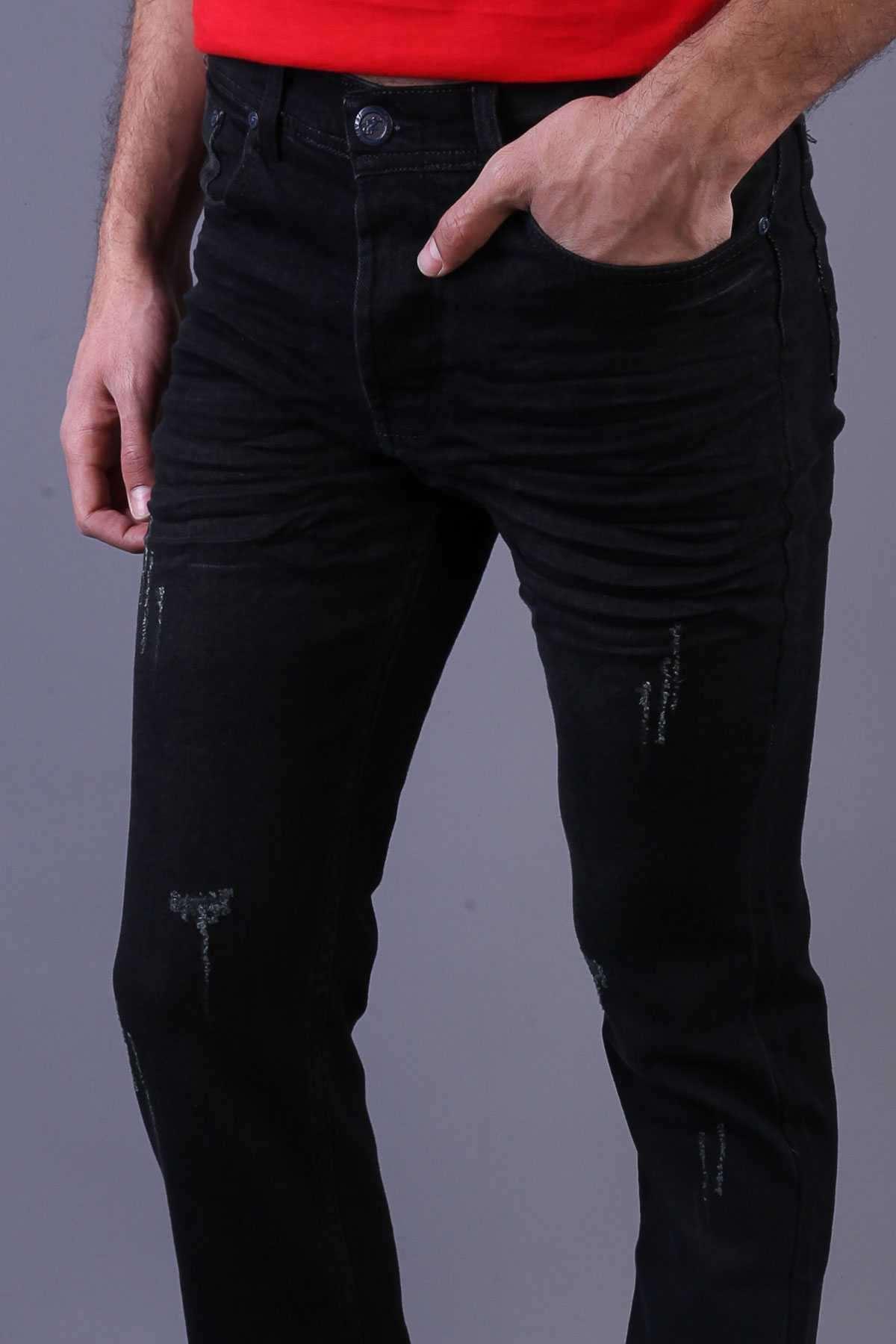 Lazer Tırnaklı Taşlamalı Slim Fit Kot Pantolon Koyu Yeşil