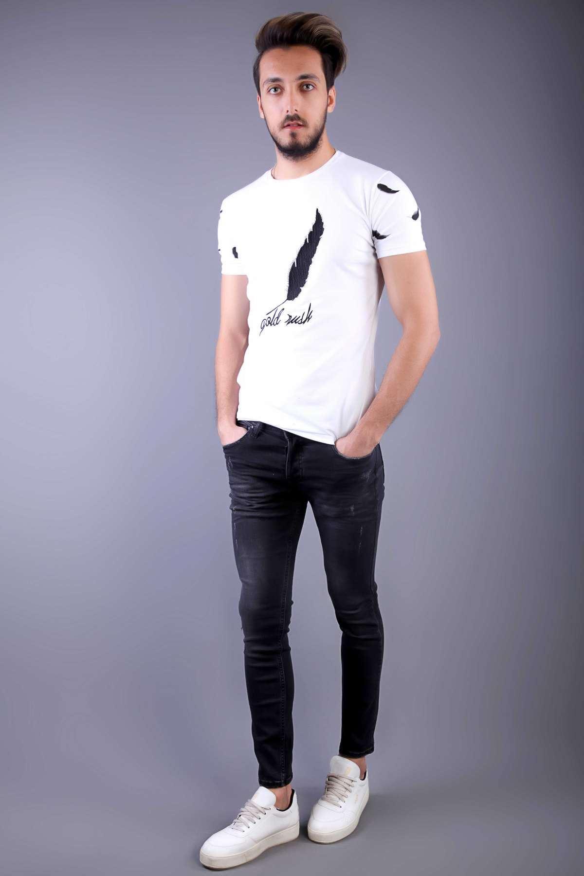 Lazer Tırtıklı Diz Taşlamalı Slim Fit Kot Pantolon Antrasit