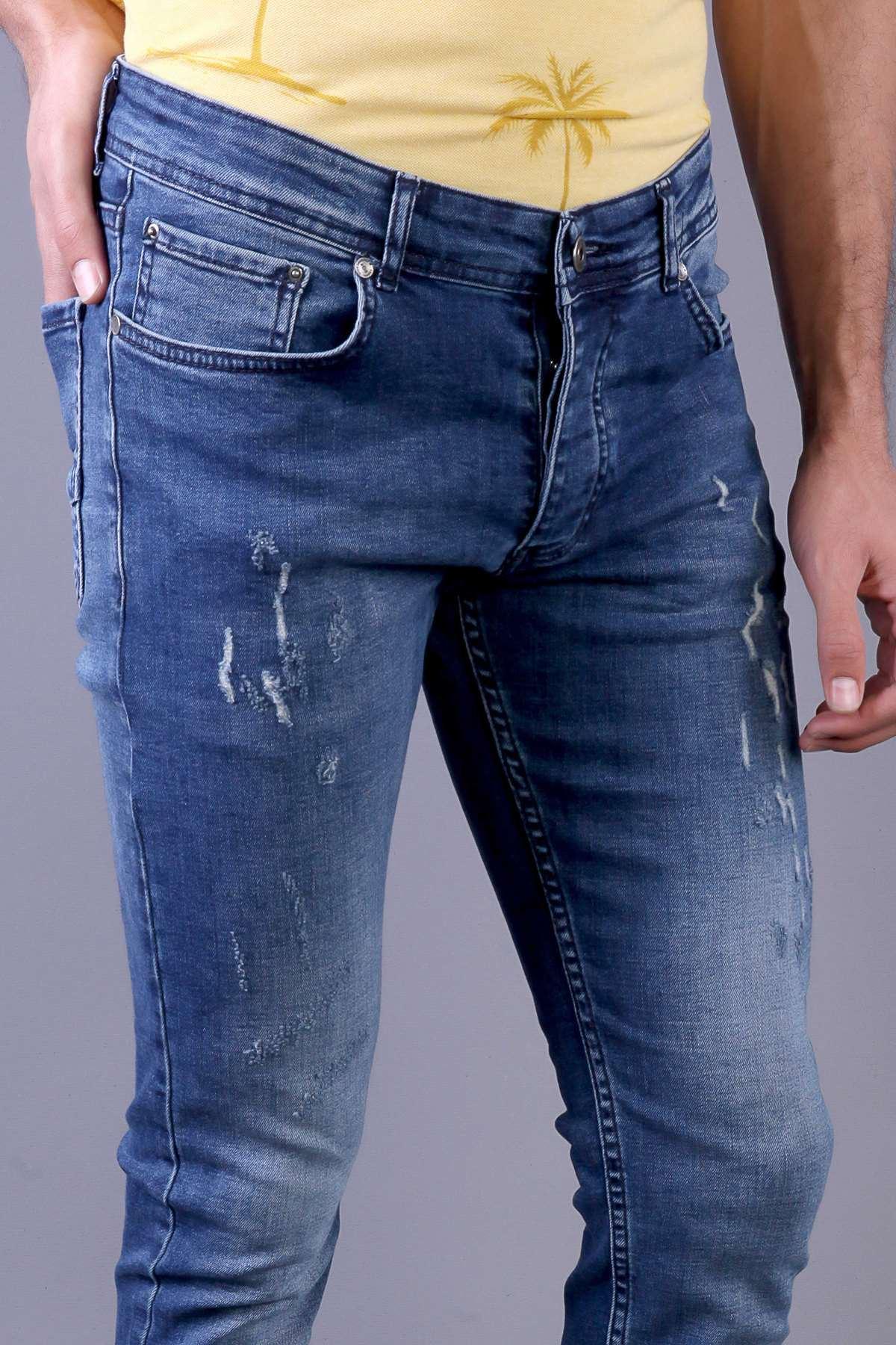 Lazer Tırtıklı Hafif Taşlamalı Slim Fit Kot Pantolon Koyu-Mavi