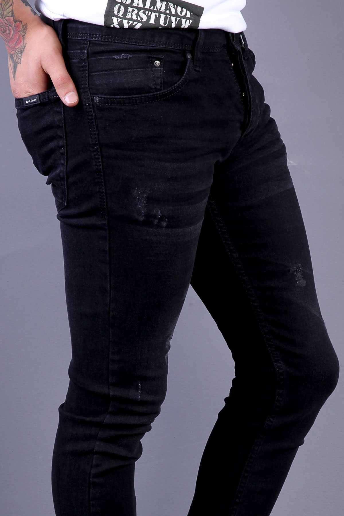 Lazer Tırtıklı Klinkırlı Slim Fit Kot Pantolon Siyah