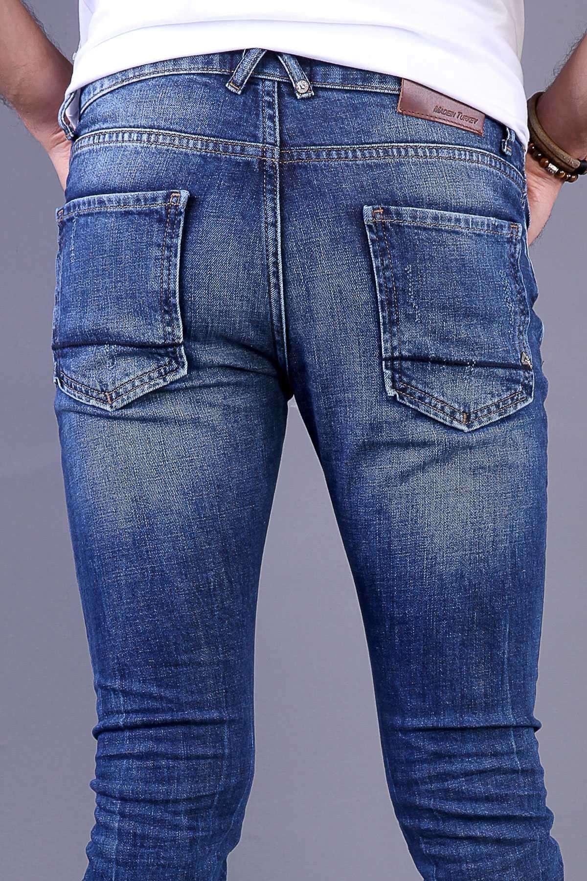 Lazer Tırtıklı İp Yamalı Slim Fit Kot Pantolon Açık-Lacivert