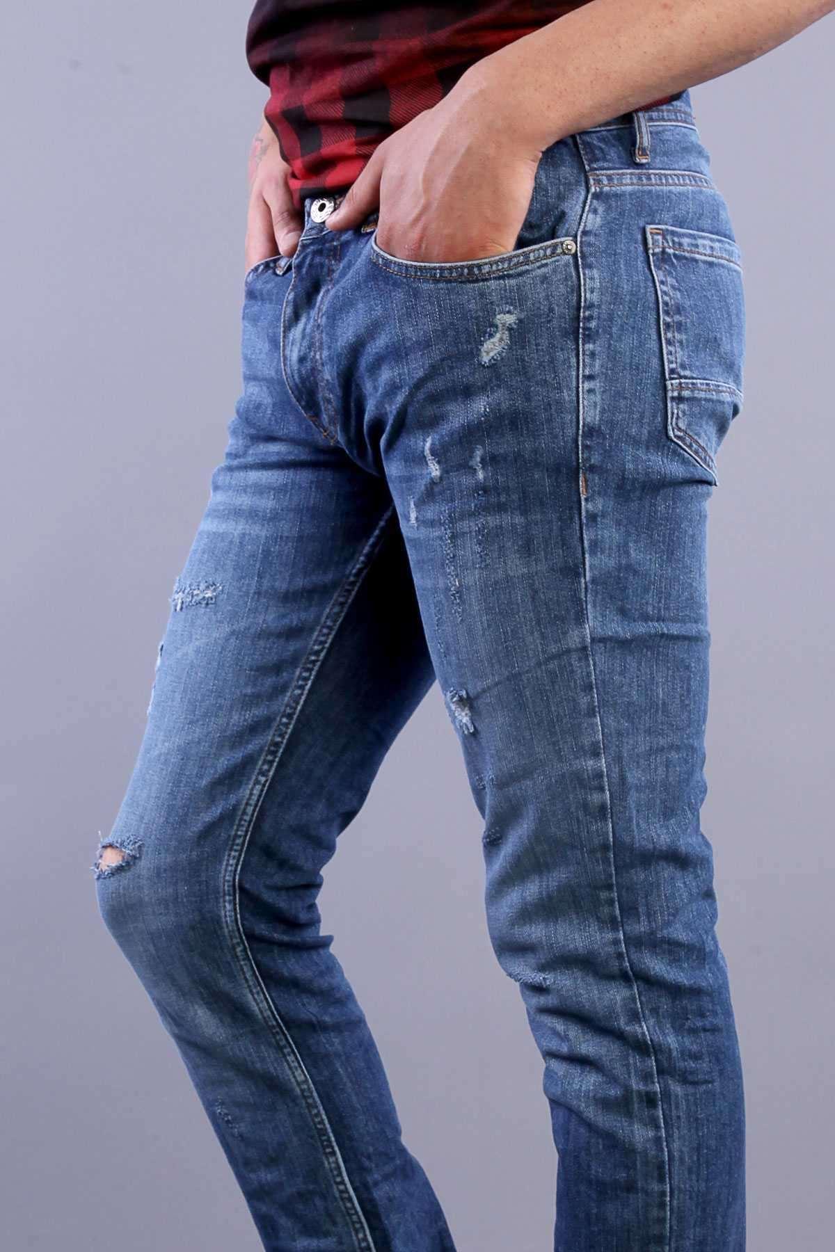 Lazer Kesikli Taşlamalı Slim Fit Kot Pantolon Mavi