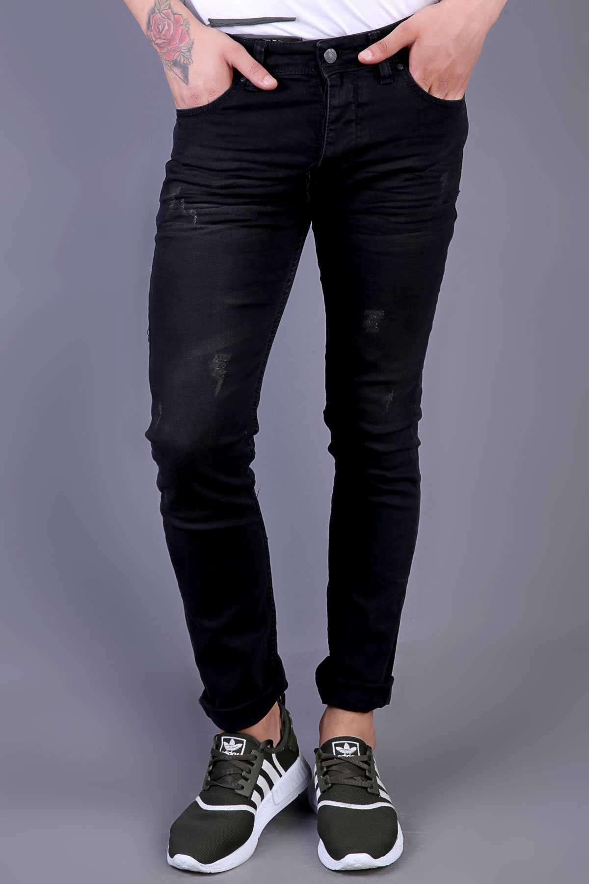 Lazer Tırtıklı Yıkamalı Klinkırlı Slim Fit Kot Pantolon Siyah