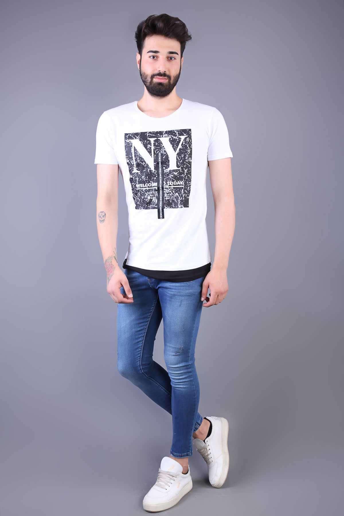 Lazer Tırtıklı Taşlamalı Bilek Boy Slim Fit Kot Pantolon Mavi