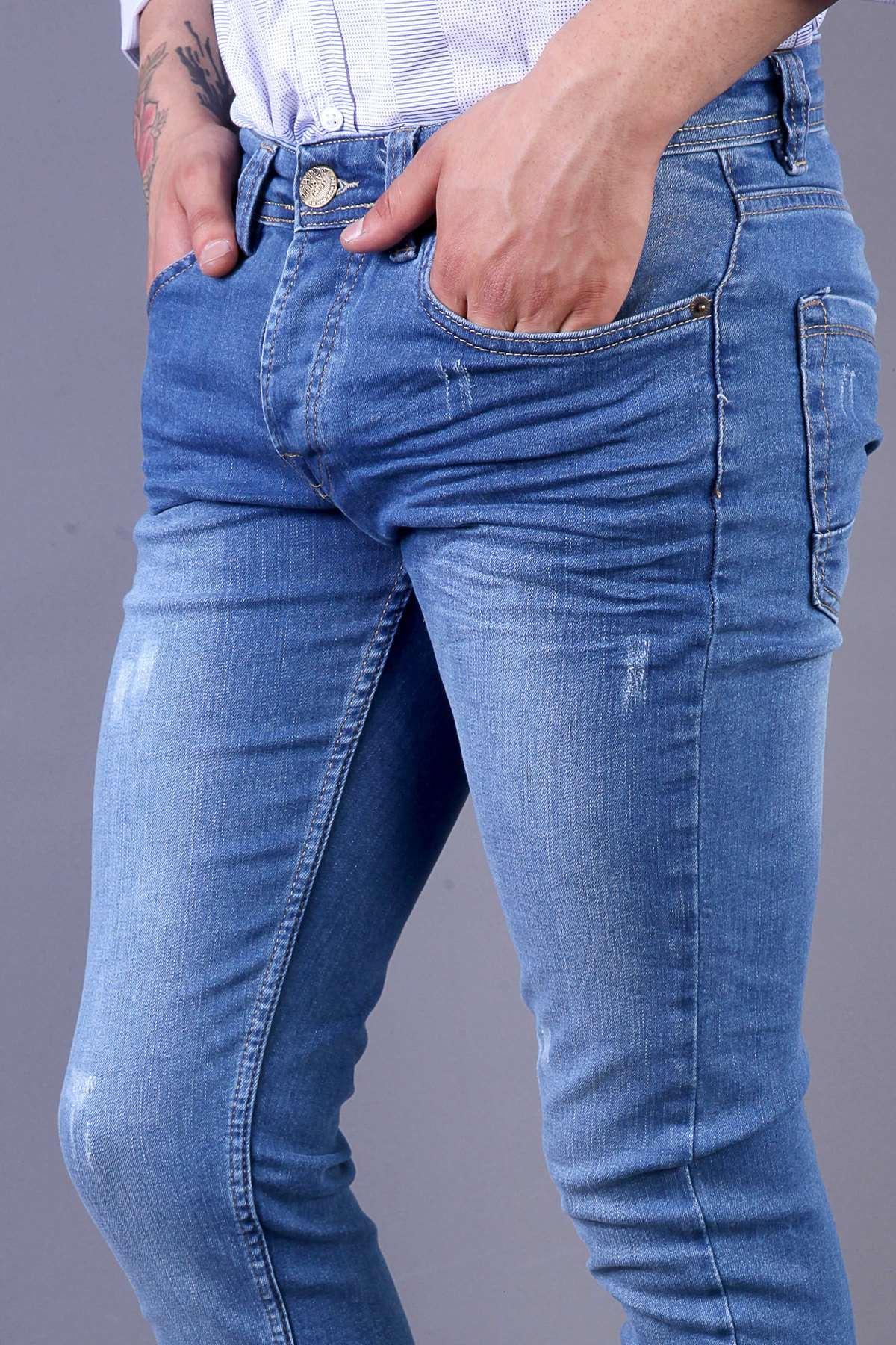Lazer Tırtıklı Hafif Taşlamalı Slim Fit Kot Pantolon Mavi