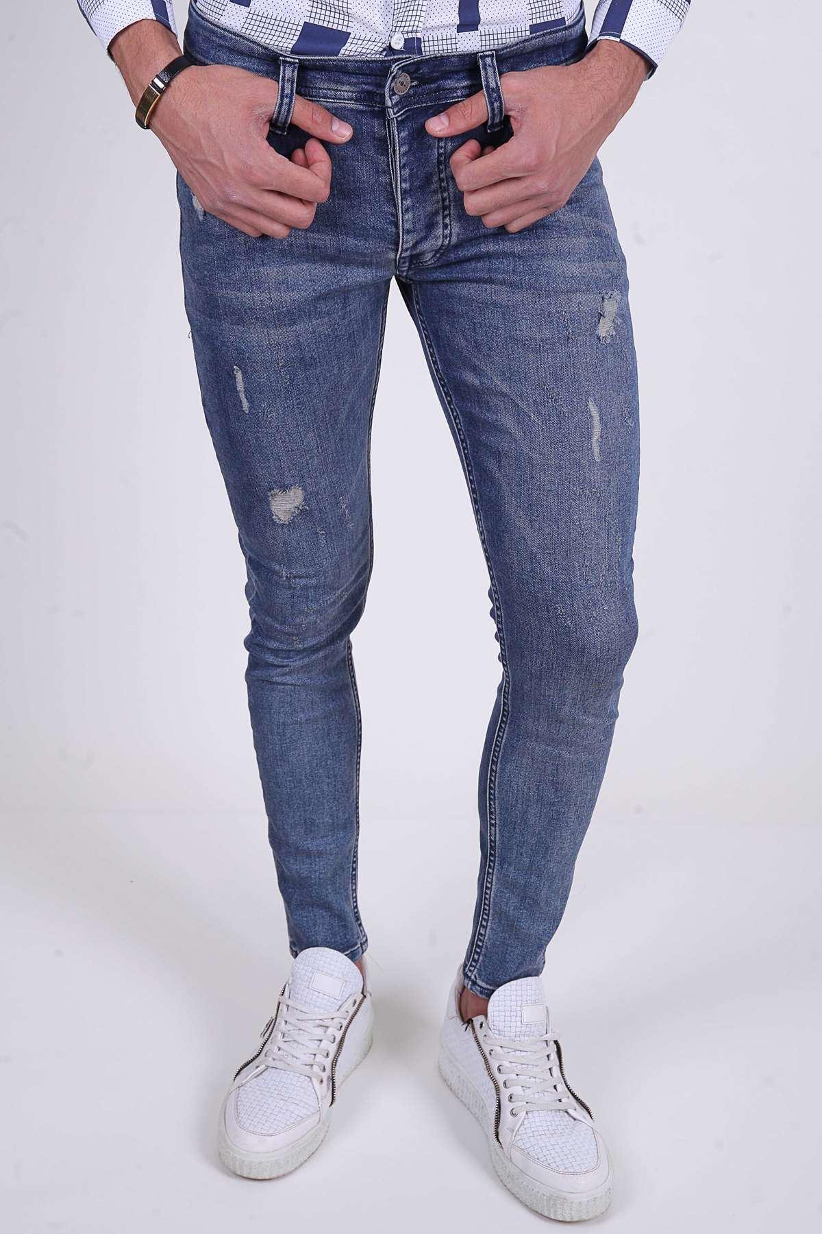 Lazer Tırtıklı Taşlamalı Slim Fit Kot Pantolon Açık-Lacivert