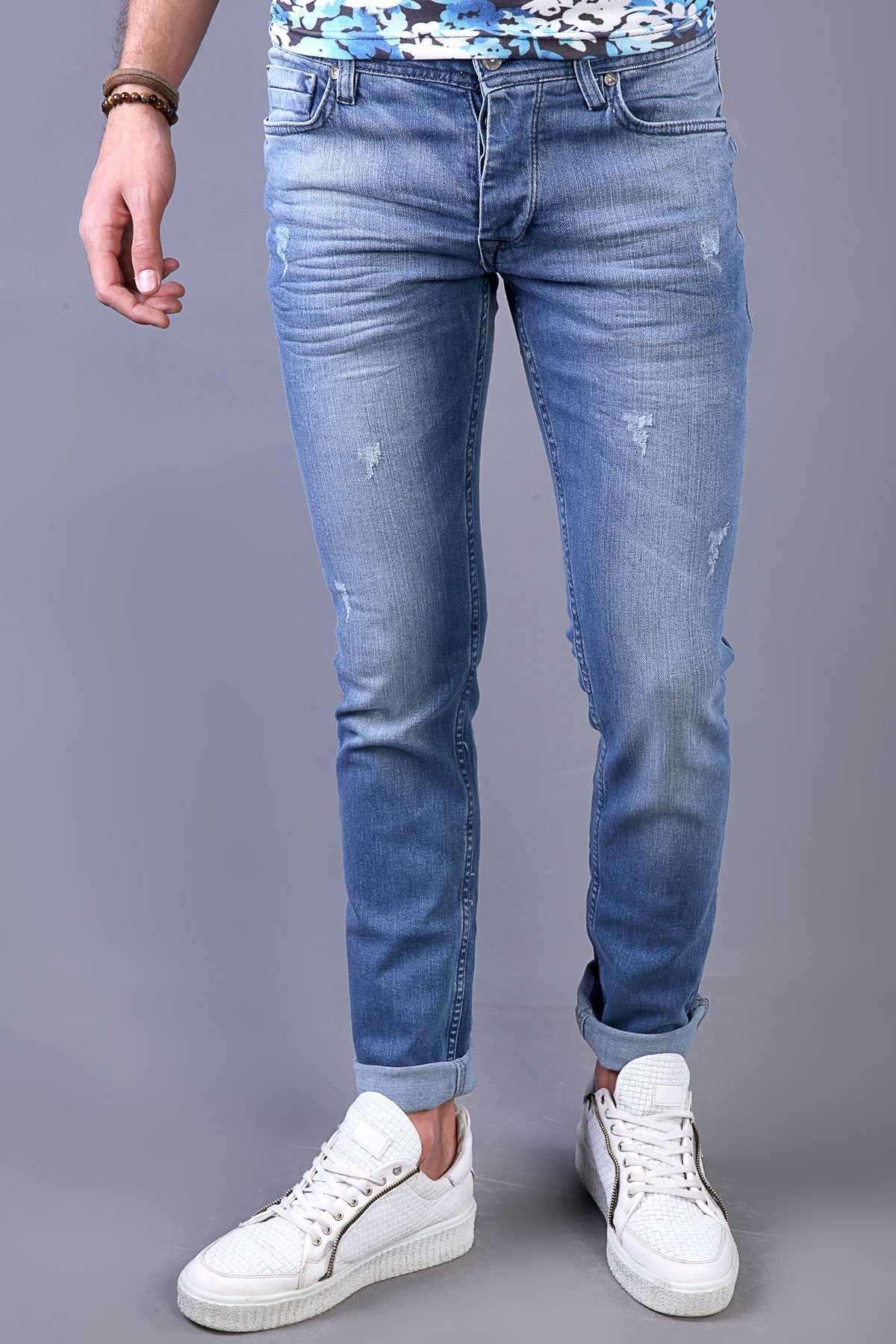 Lazer Tırtıklı Klinkırlı Taşlamalı Slim Fit Kot Pantolon Mavi