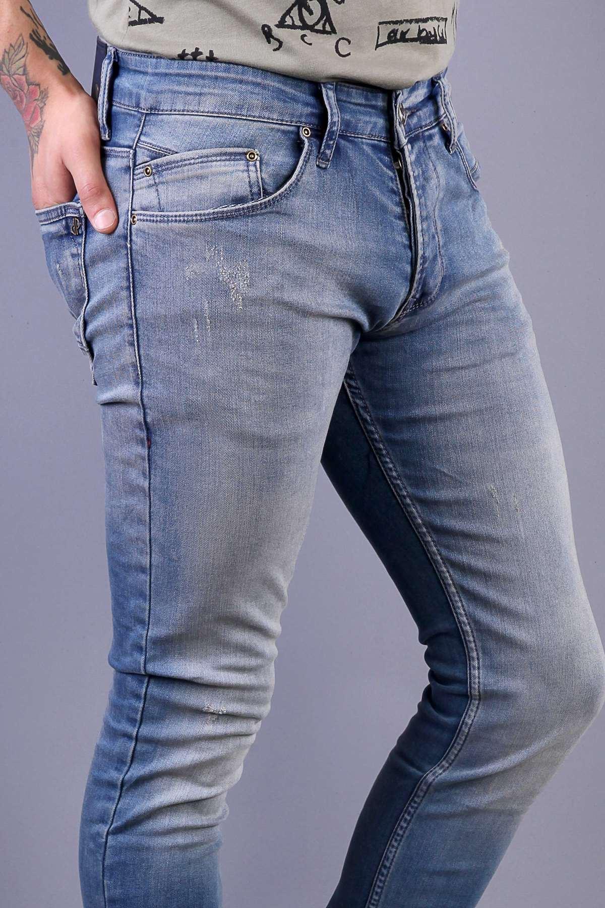 Lazer Tırtıklı Taşlamalı Slim Fit Kot Pantolon Koyu-Tint
