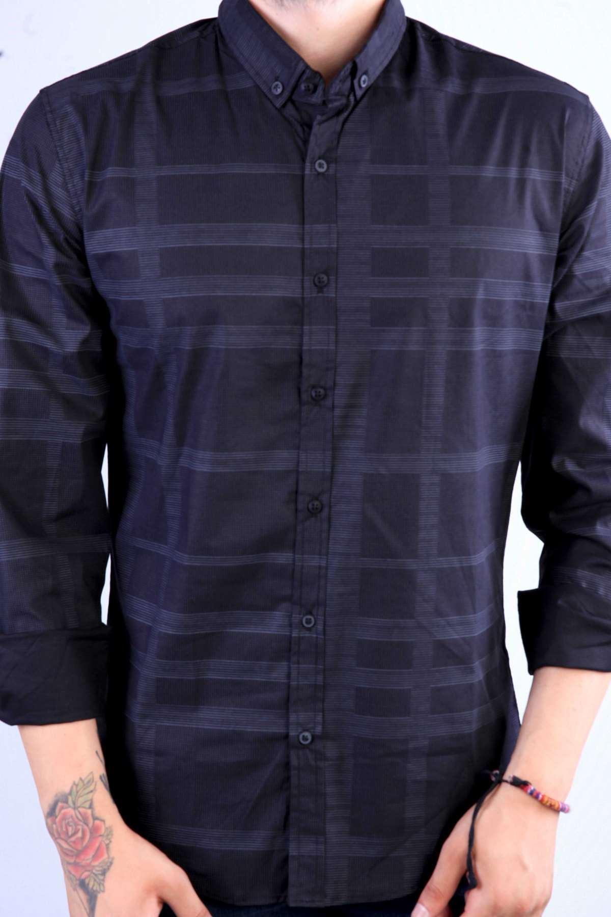 Noktalı Çizgi Desenli Klasik Yaka Slim Fit Gömlek Siyah