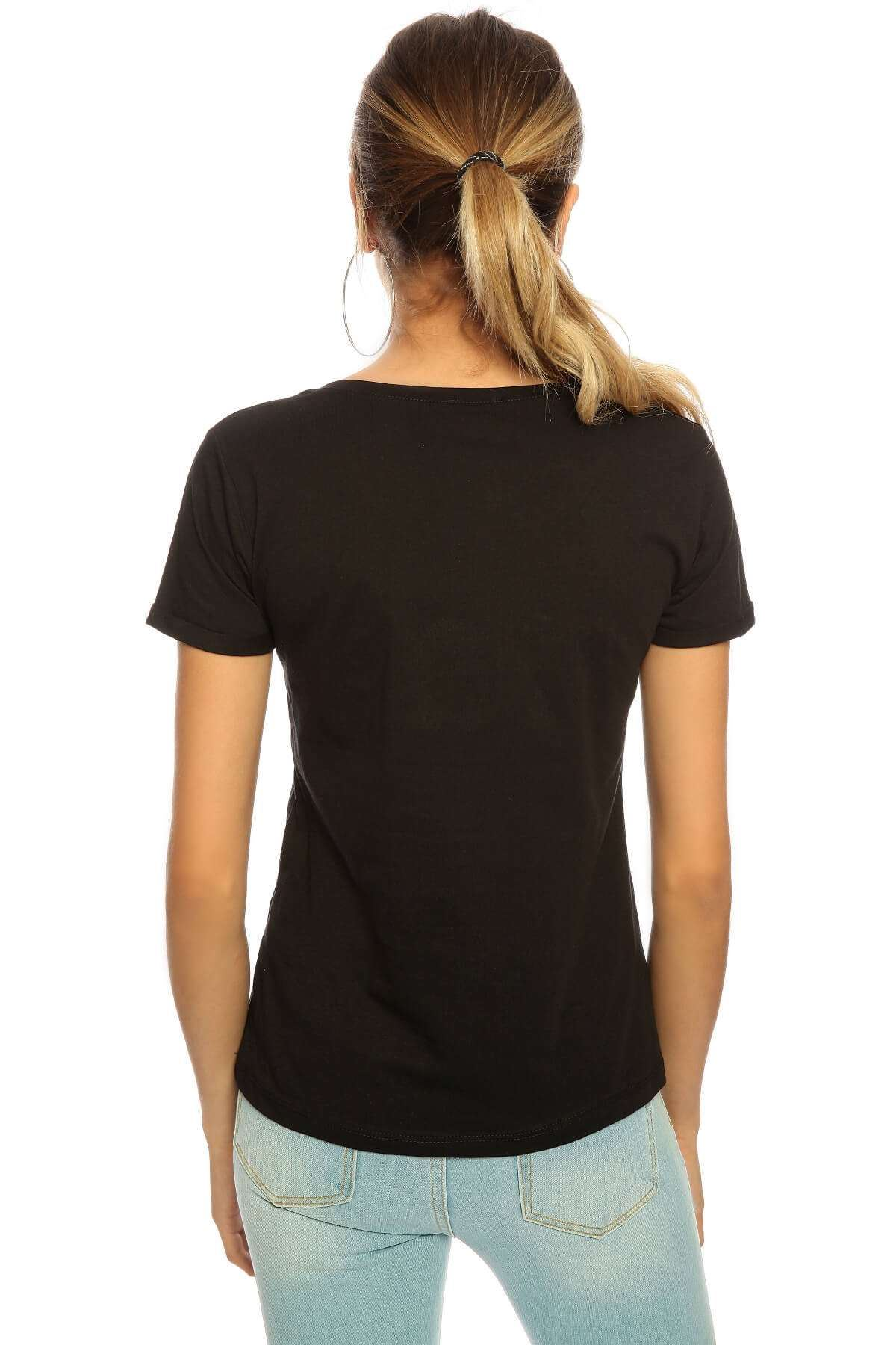 No Taşlı Sıfır Yaka Kısa Kol Tişört Siyah