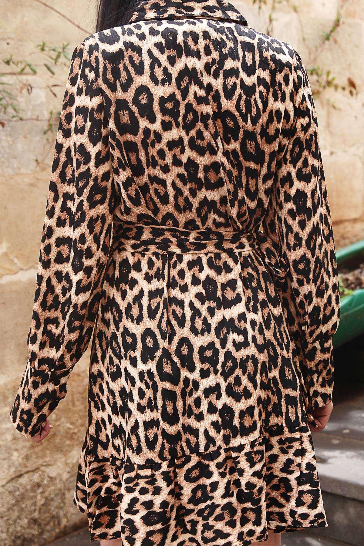 Leopar Desenli Yaka Detaylı Eteği Fırfırlı Elbise Siyah-Kahve
