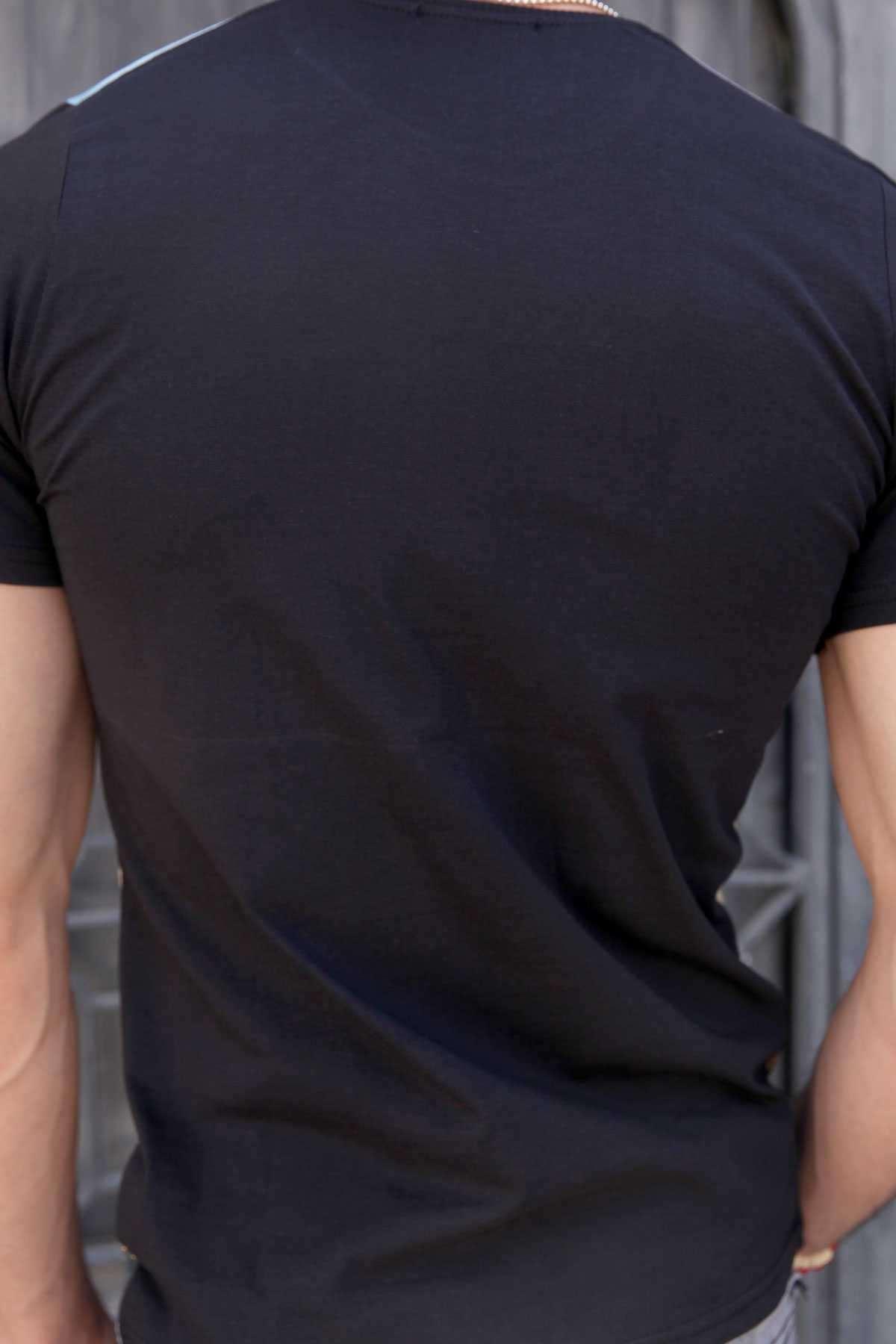 Leopar Baskı Sıfır Yaka Dijital Tişört Siyah