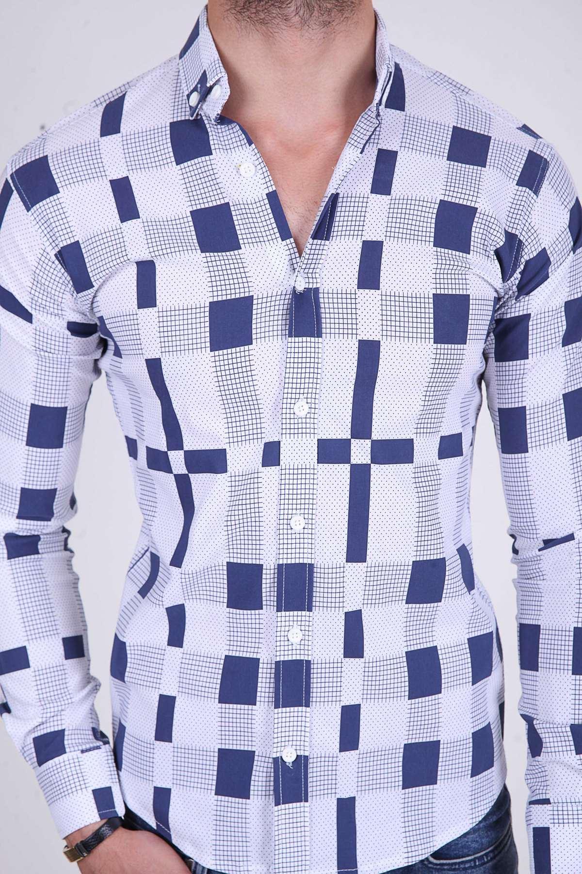 Noktalı Çizgi Kare Desenli Slim Fit Gömlek Beyaz