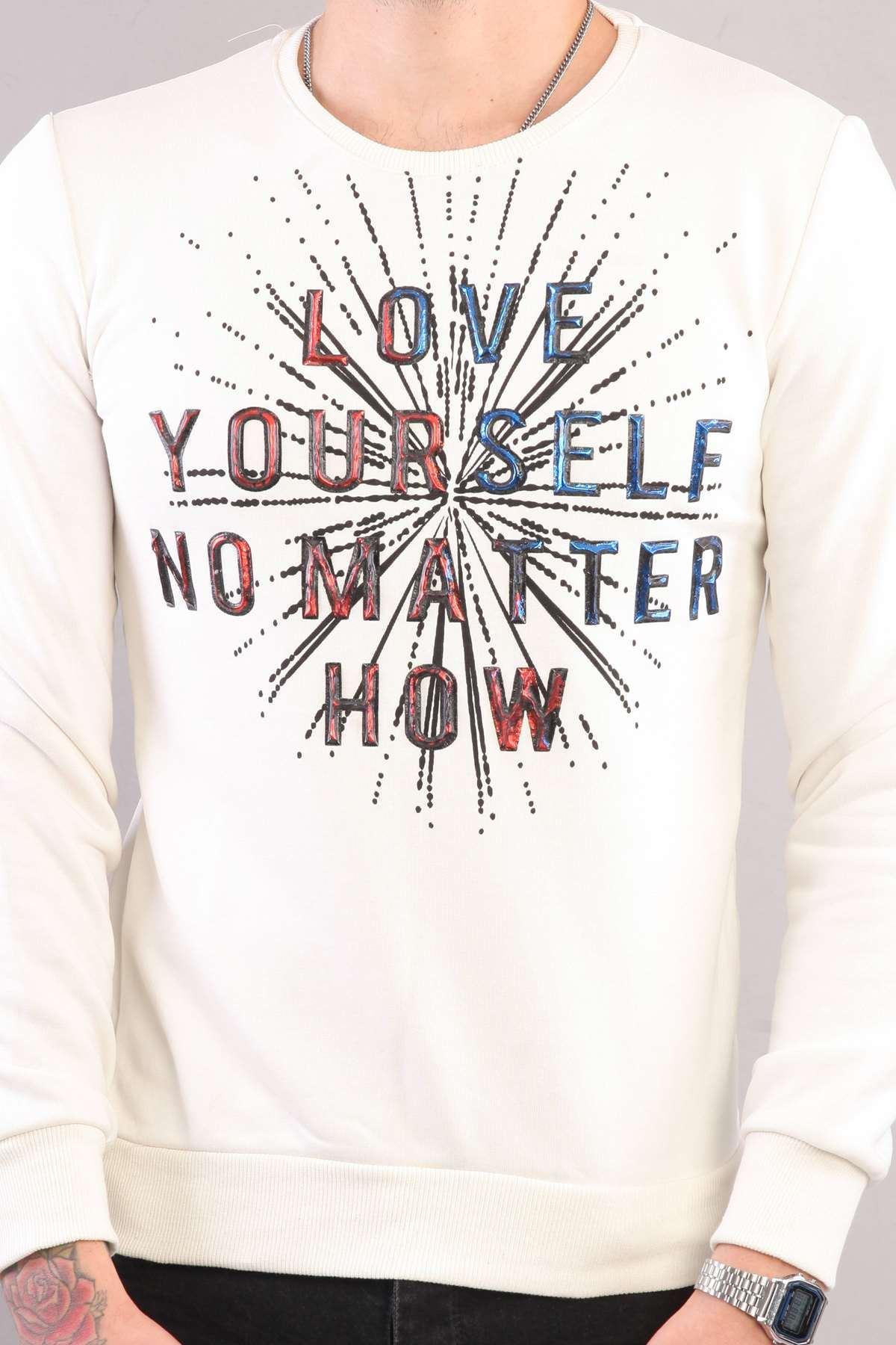 Love Yourself Kabartma Baskılı Sweatshırt Krem