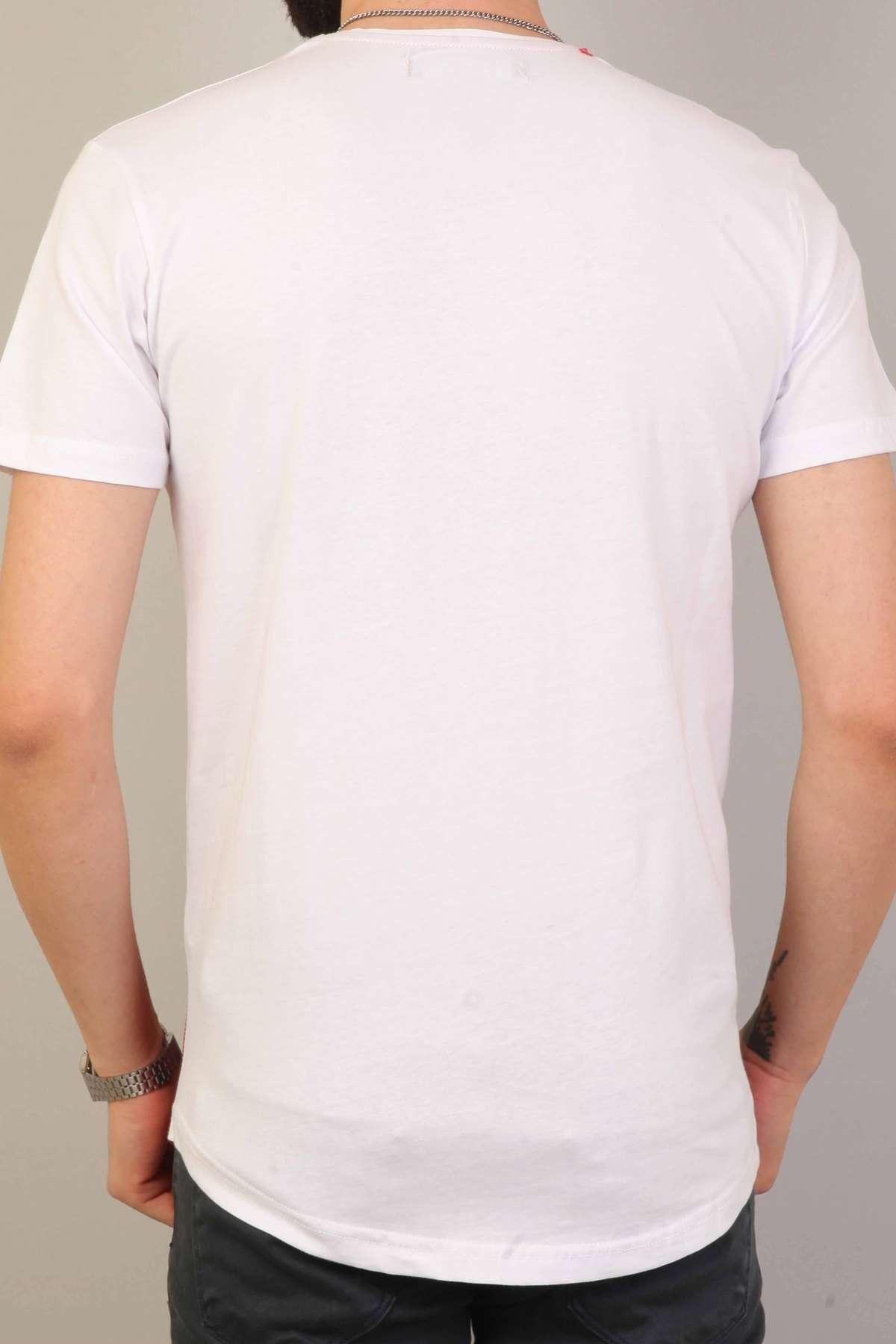 Look At Me Yazı Baskılı Sıfır Yaka  Slim Fit Tişört Beyaz