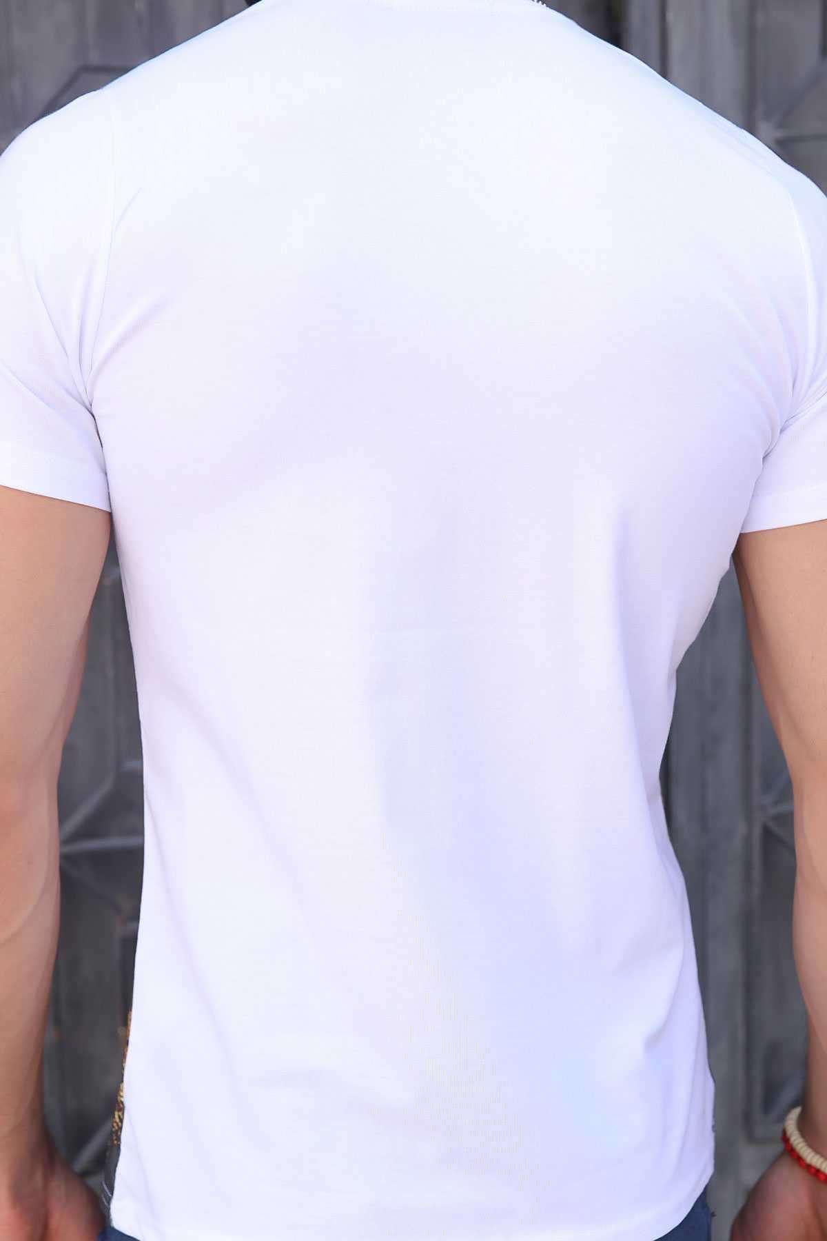 Leopar Baskı Sıfır Yaka Dijital Tişört Beyaz