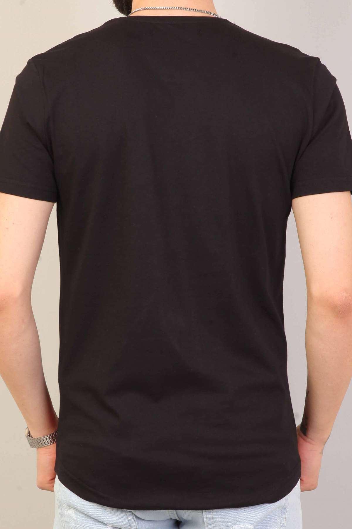Look At Me Yazı Baskılı Sıfır Yaka  Slim Fit Tişört Siyah