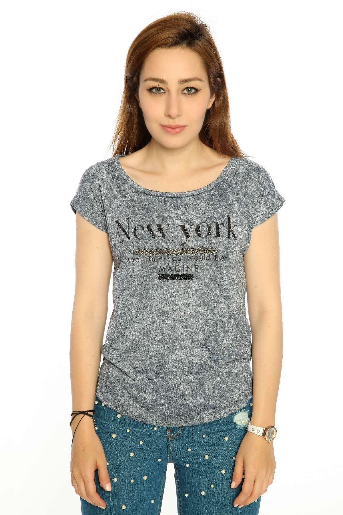 Newyork Sırt Dekolte Önü Kısa Tişört Laci
