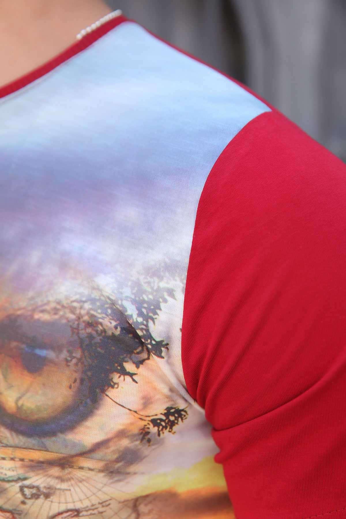 Leopar Baskı Sıfır Yaka Dijital Tişört Bordo
