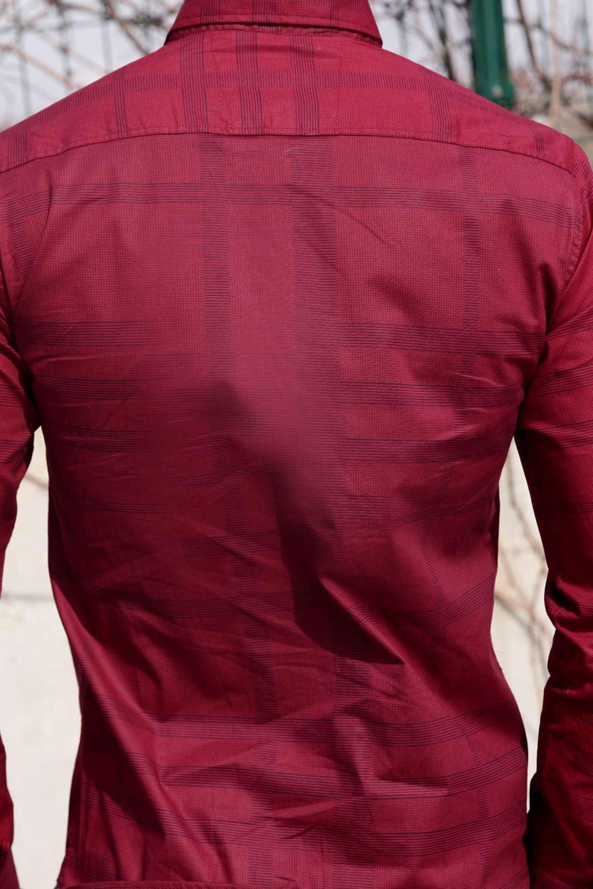 Noktalı Çizgi Desenli Klasik Yaka Slim Fit Gömlek Bordo