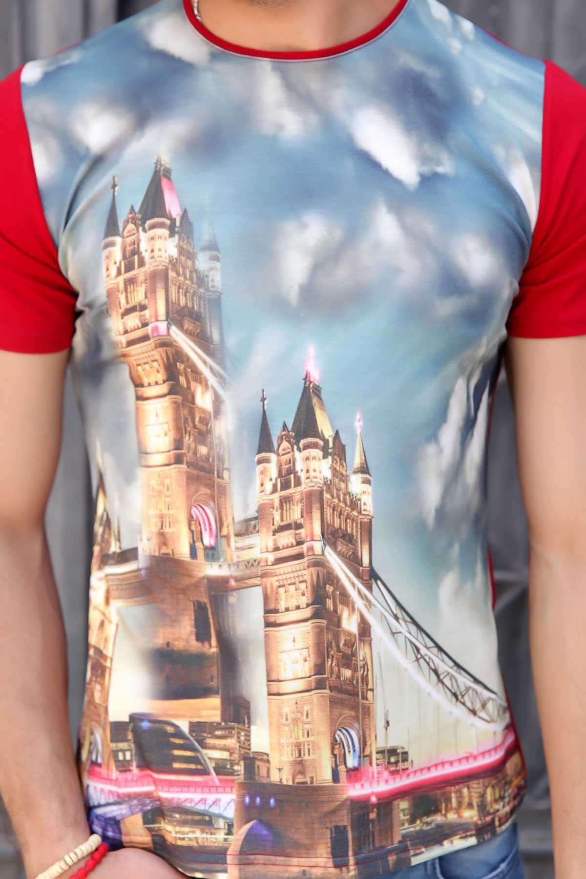 Londra Baskılı 0 Yaka Tişört Bordo