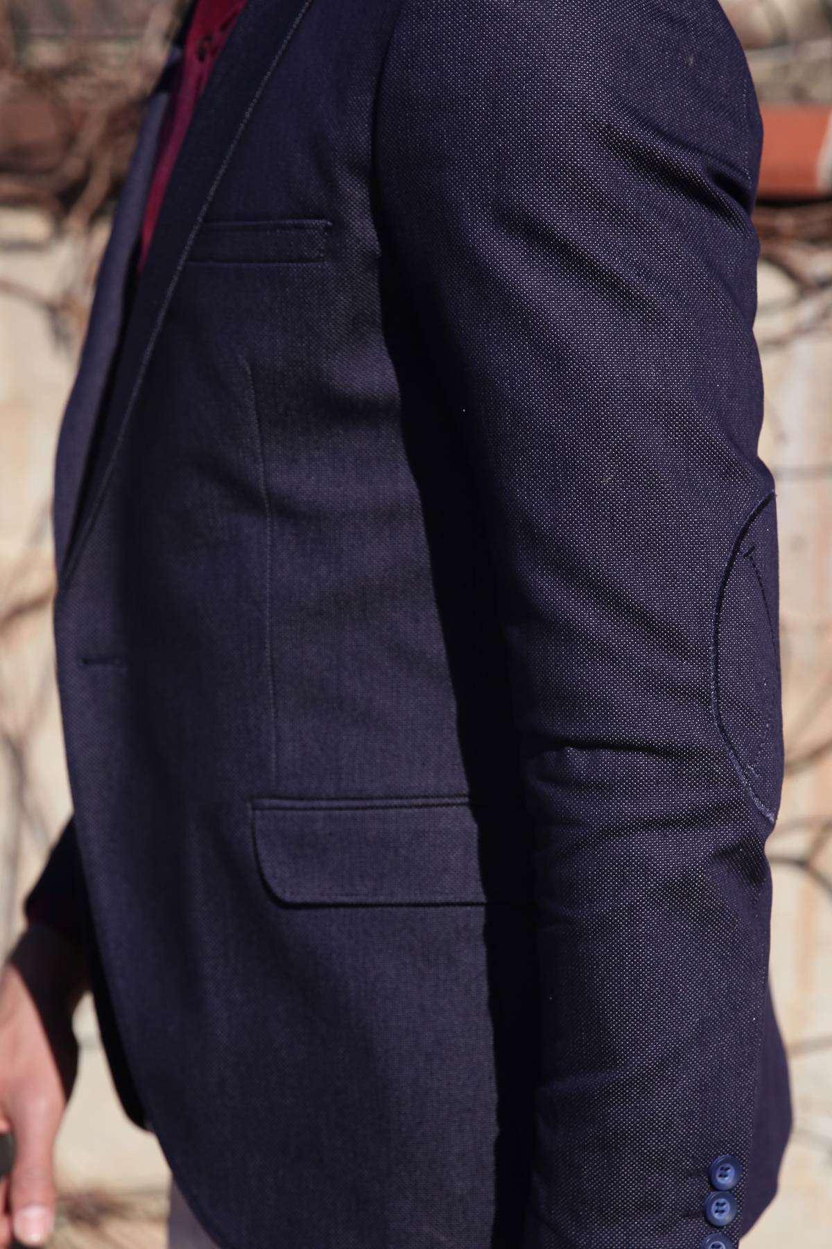 Nokta Desenli İçi Astarlı Slim Fit Ceket Lacivert
