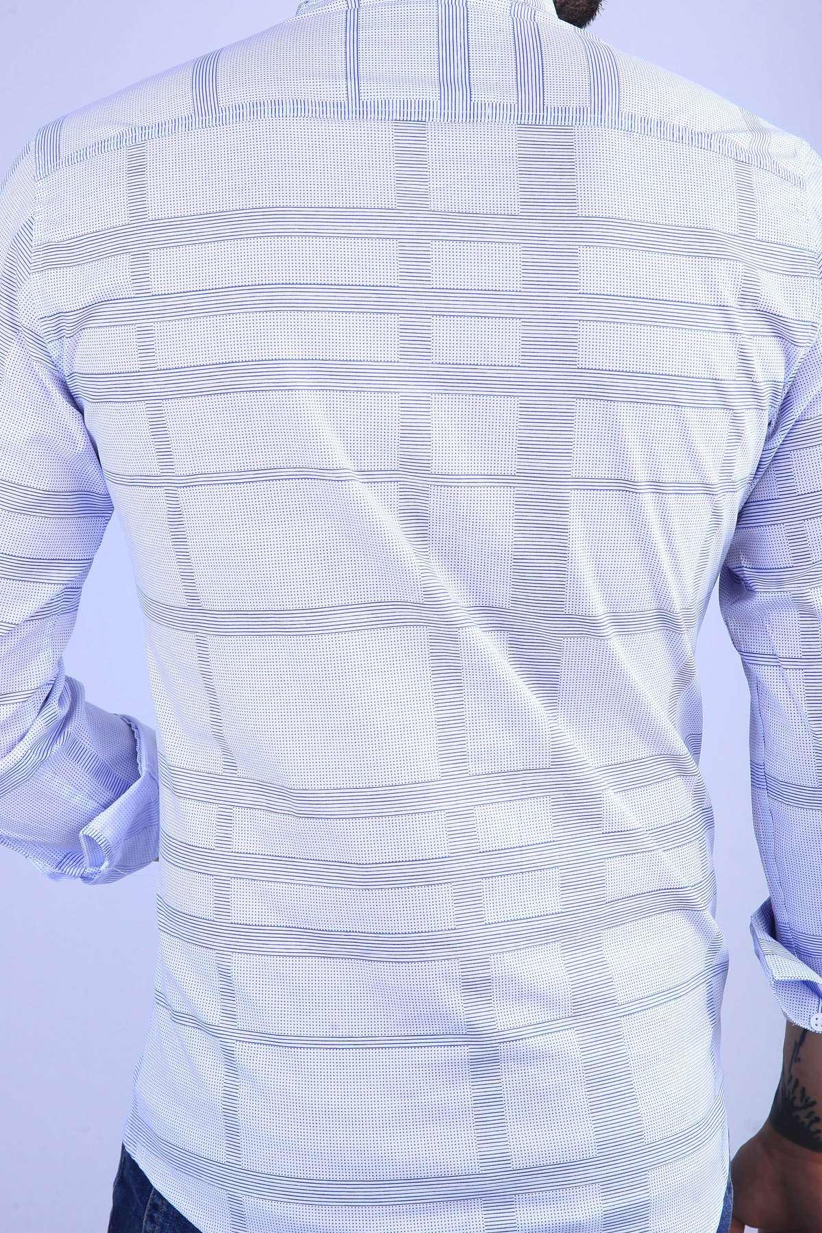 Noktalı Çizgi Desenli Klasik Yaka Slim Fit Gömlek Mavi