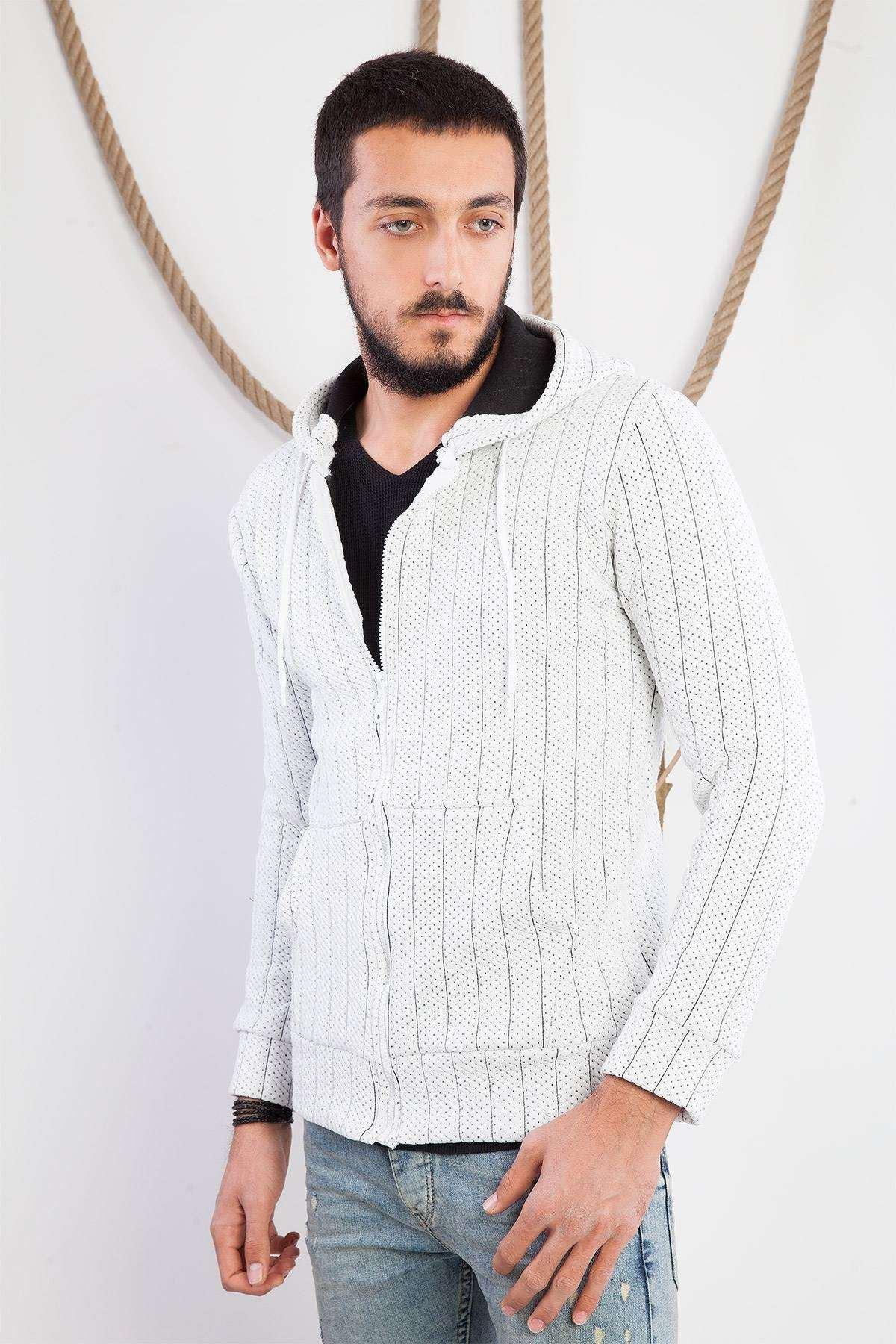 Noktalı Kapşonlu Sweatshirt Beyaz