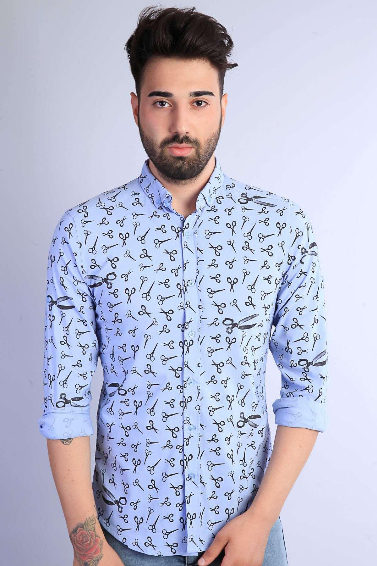 Makas Desenli Klasik Yaka Slim Fit Gömlek B.Mavi