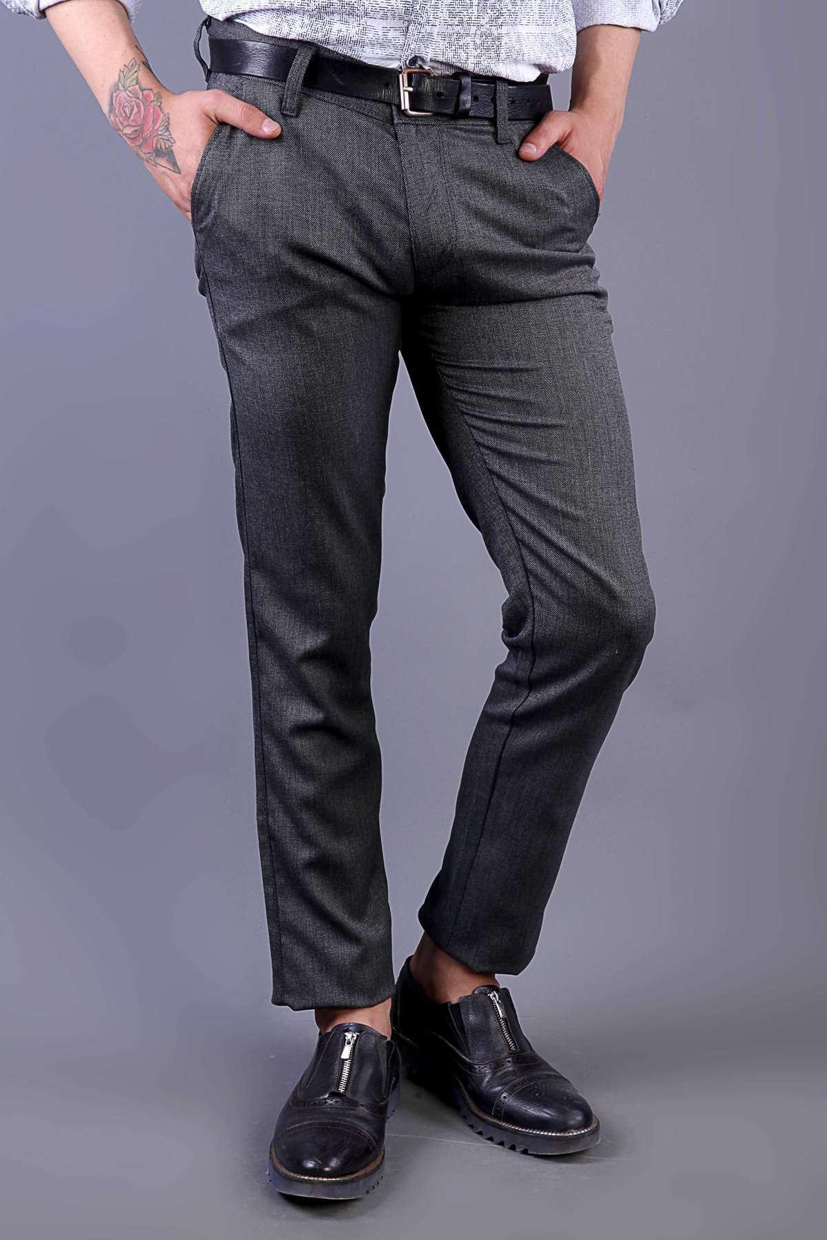 Nokta Desenli Çift Cep Slim Fit Pantolon Antrasit