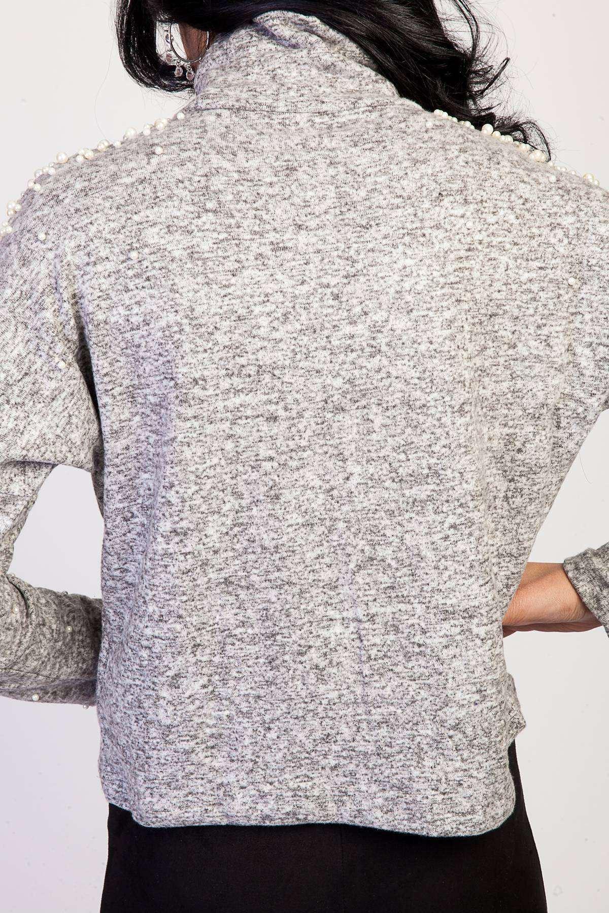 Omuz Ve Kolları İnci Detaylı Sıfır  Yaka Bluz Gri