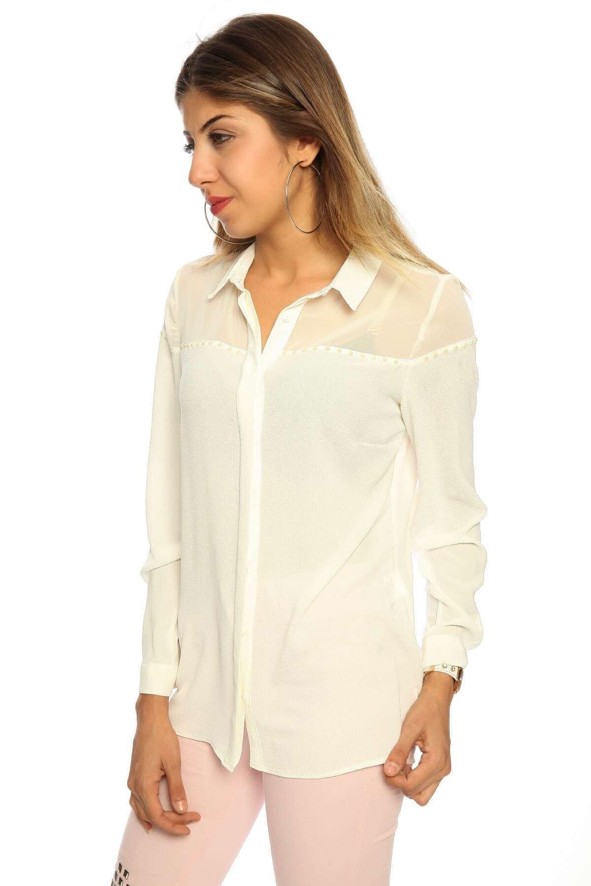 Omuz Transparan Boncuklu Uzun Kol Gömlek Beyaz