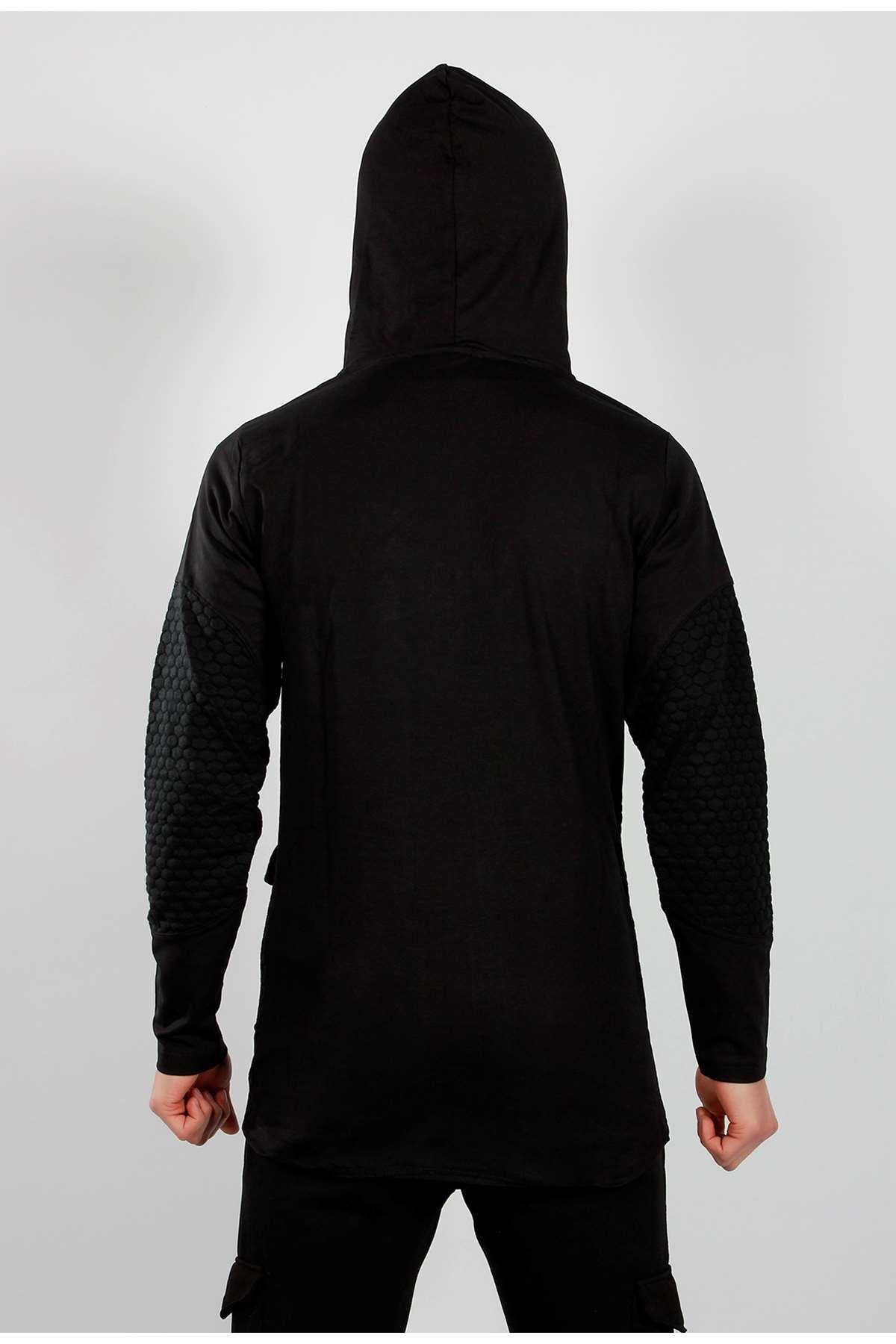 Oval Desenli Kemerli Kapşonlu Sweatshirt Siyah