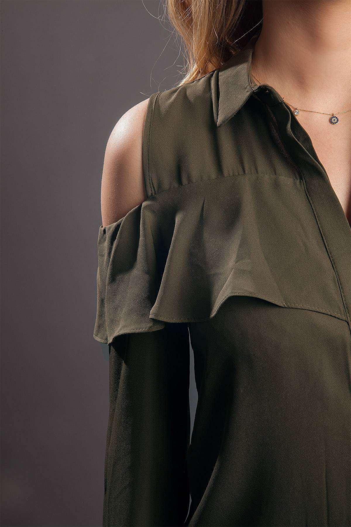 Omuz Açık Önü Fırfırlı Uzun Kol Gömlek Haki
