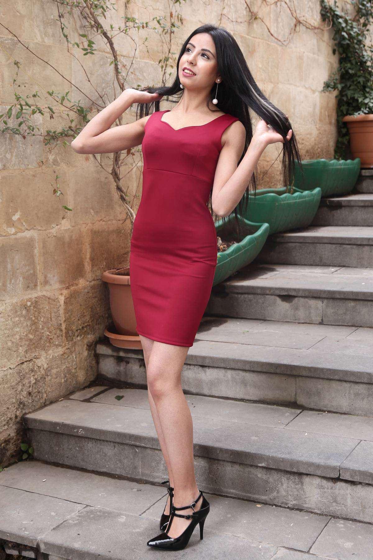 Omuz Askılı V Yaka Midi Elbise Bordo