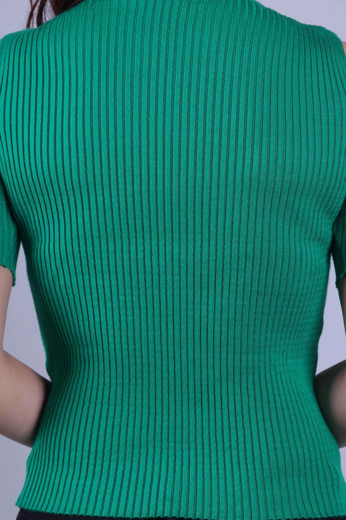 Omuz Açık Kesik Kol Triko Bady Yeşil