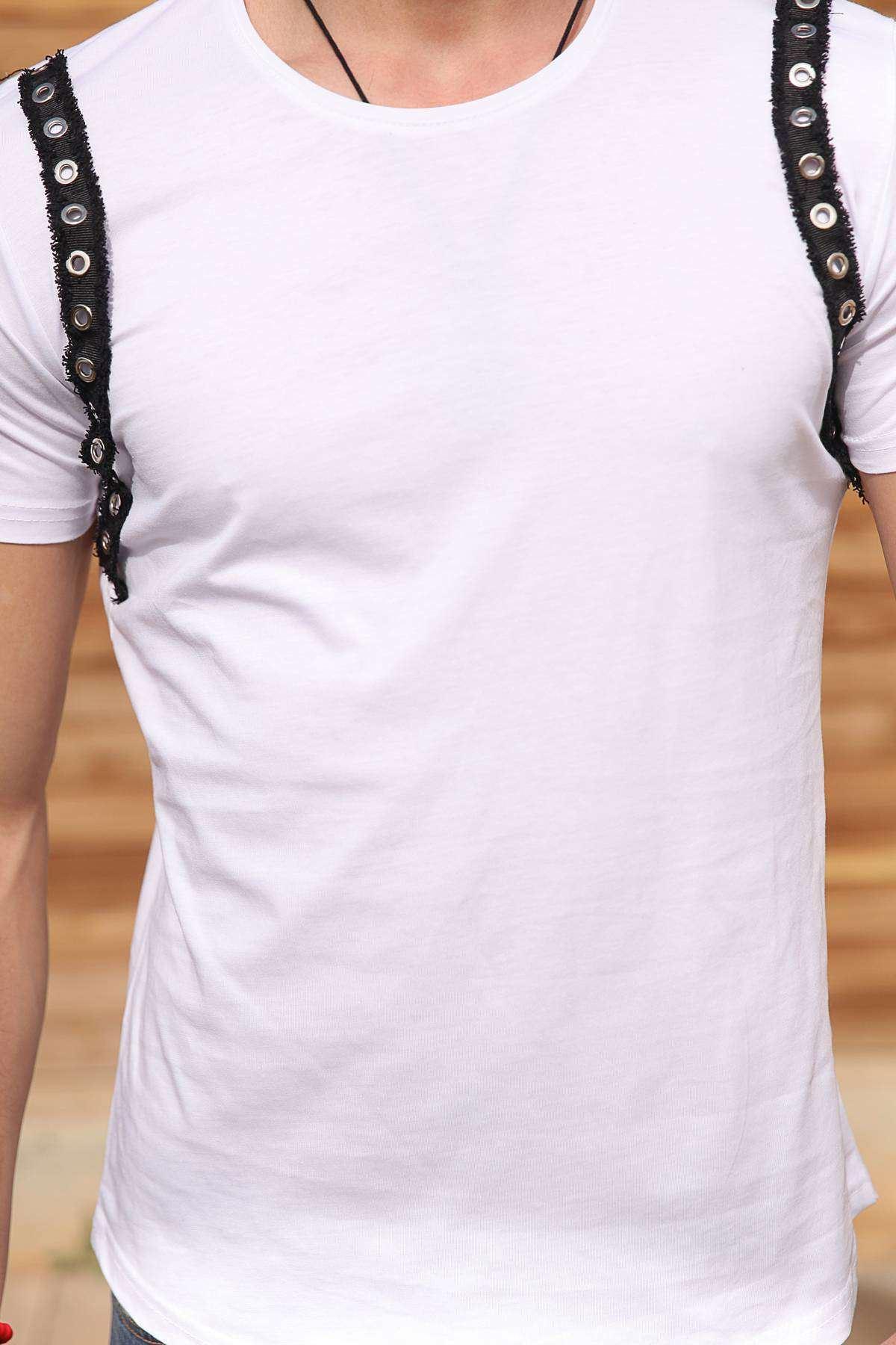 Omuzlar Metal Halka Şerit Püsküllü Tişört Beyaz