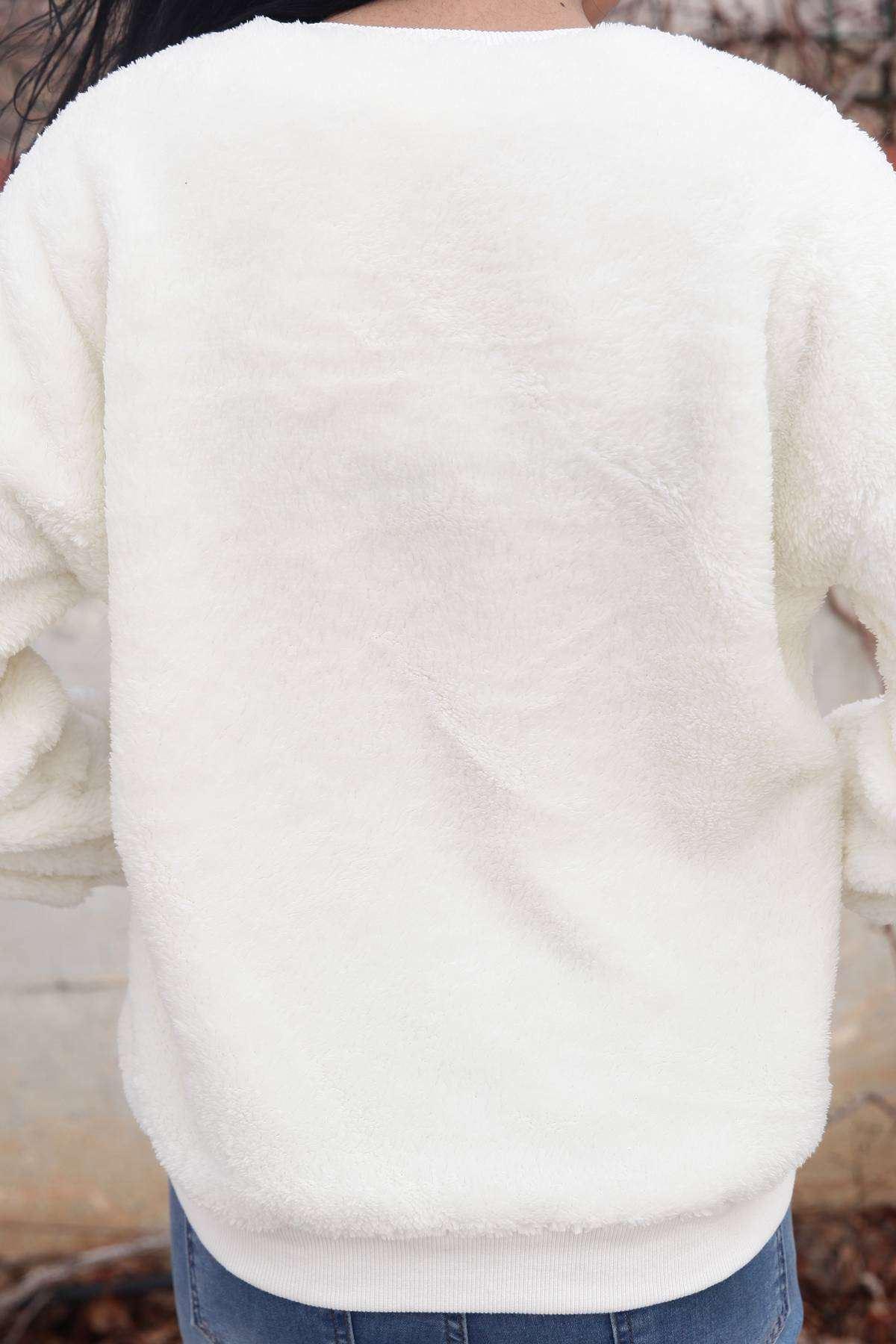 Omuz Ve Alt Boncuk Detaylı Simit Yaka Yumoş Sweatshirt Ekru