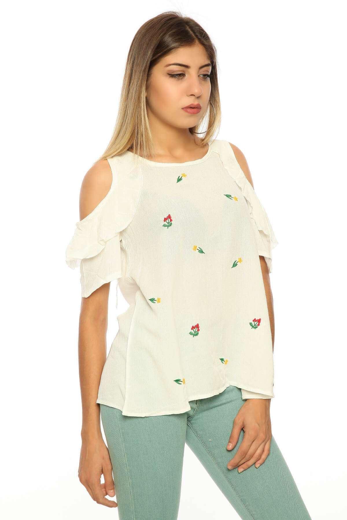 Omuz Ve Sırt Dekolteli Nakış Detaylı Bluz Beyaz