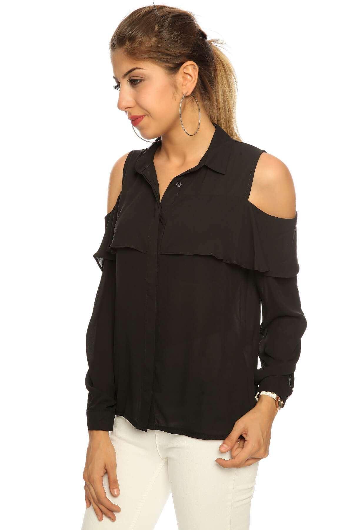Omuz Açık Önü Fırfırlı Uzun Kol Gömlek Siyah