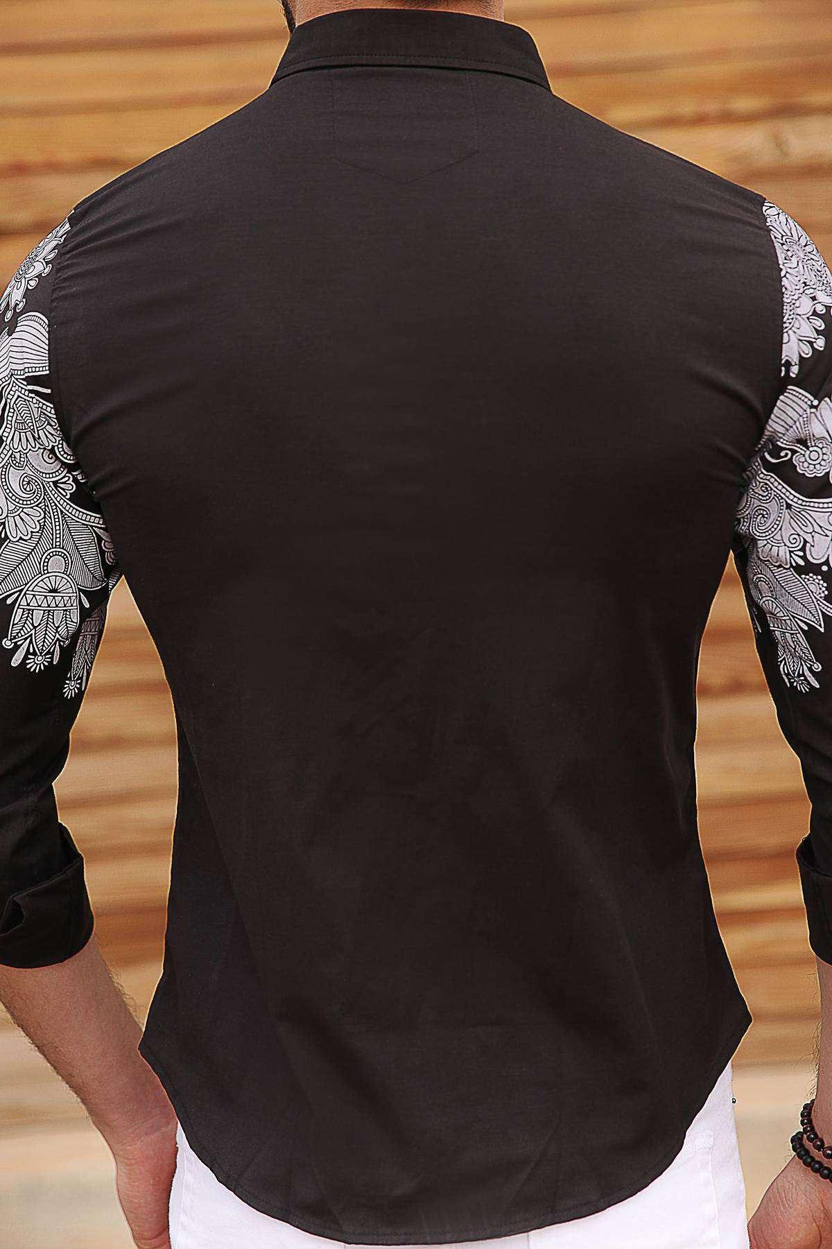 Omuz Ve Kol Baskılı Slim Fit Gömlek Siyah